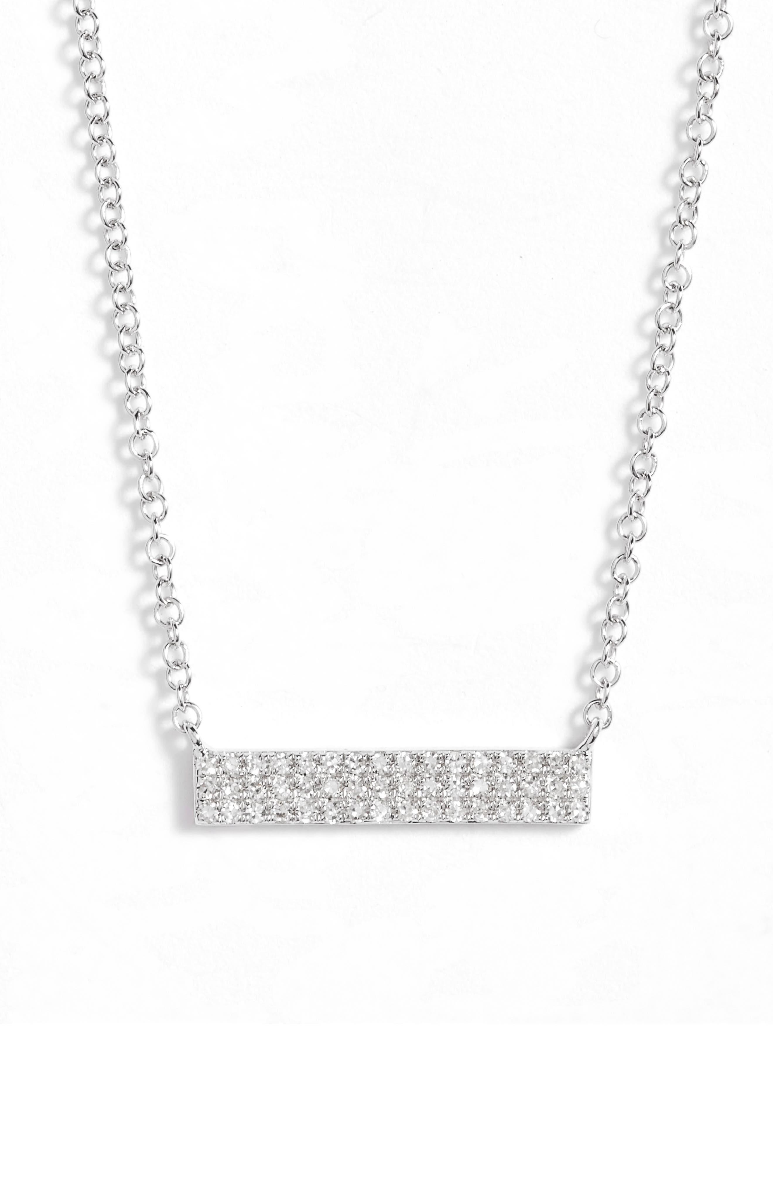 Mini Diamond Pendant Necklace,                         Main,                         color, White Gold