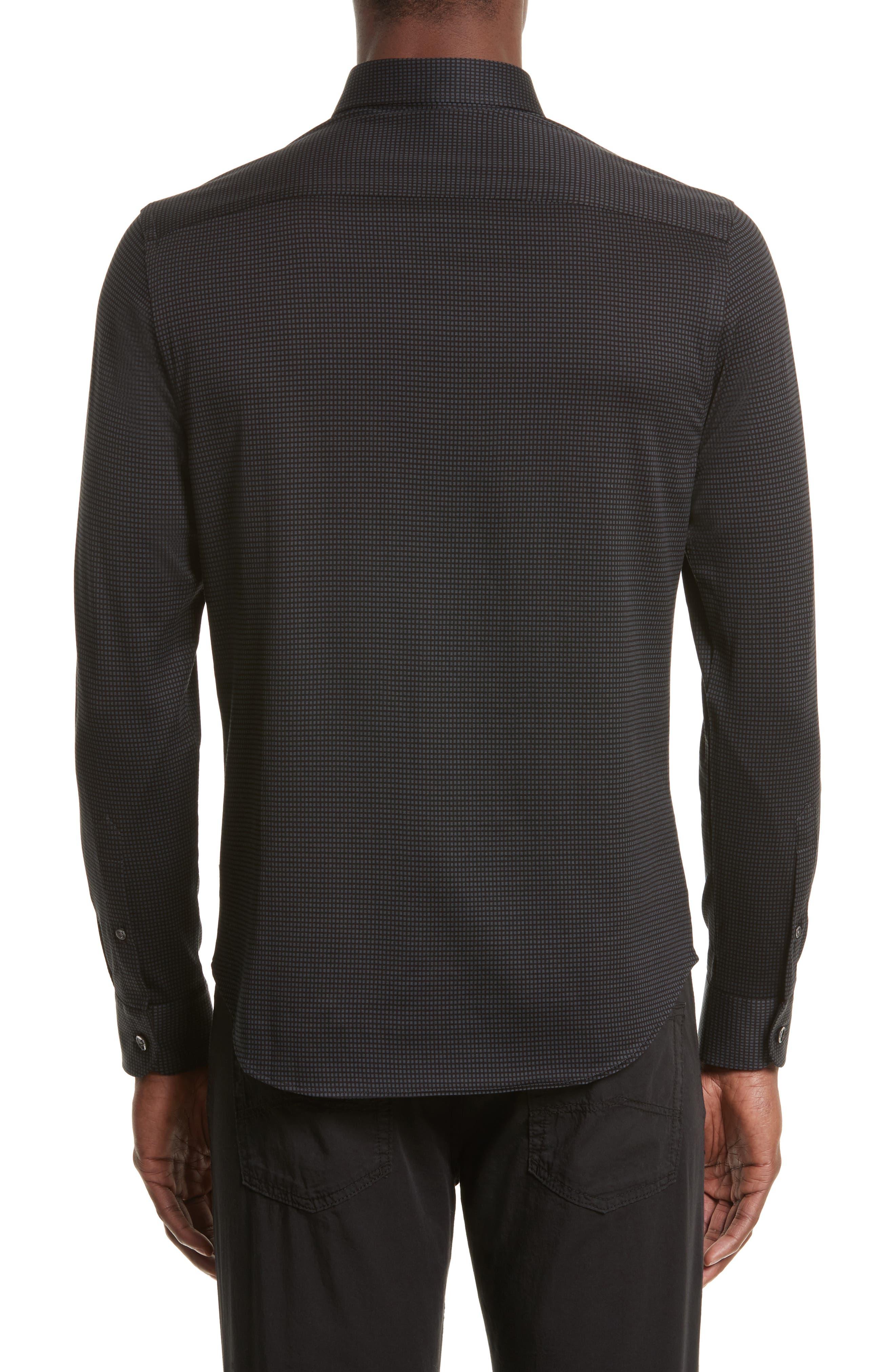 Neat Check Woven Sport Shirt,                             Alternate thumbnail 2, color,                             Checked Black