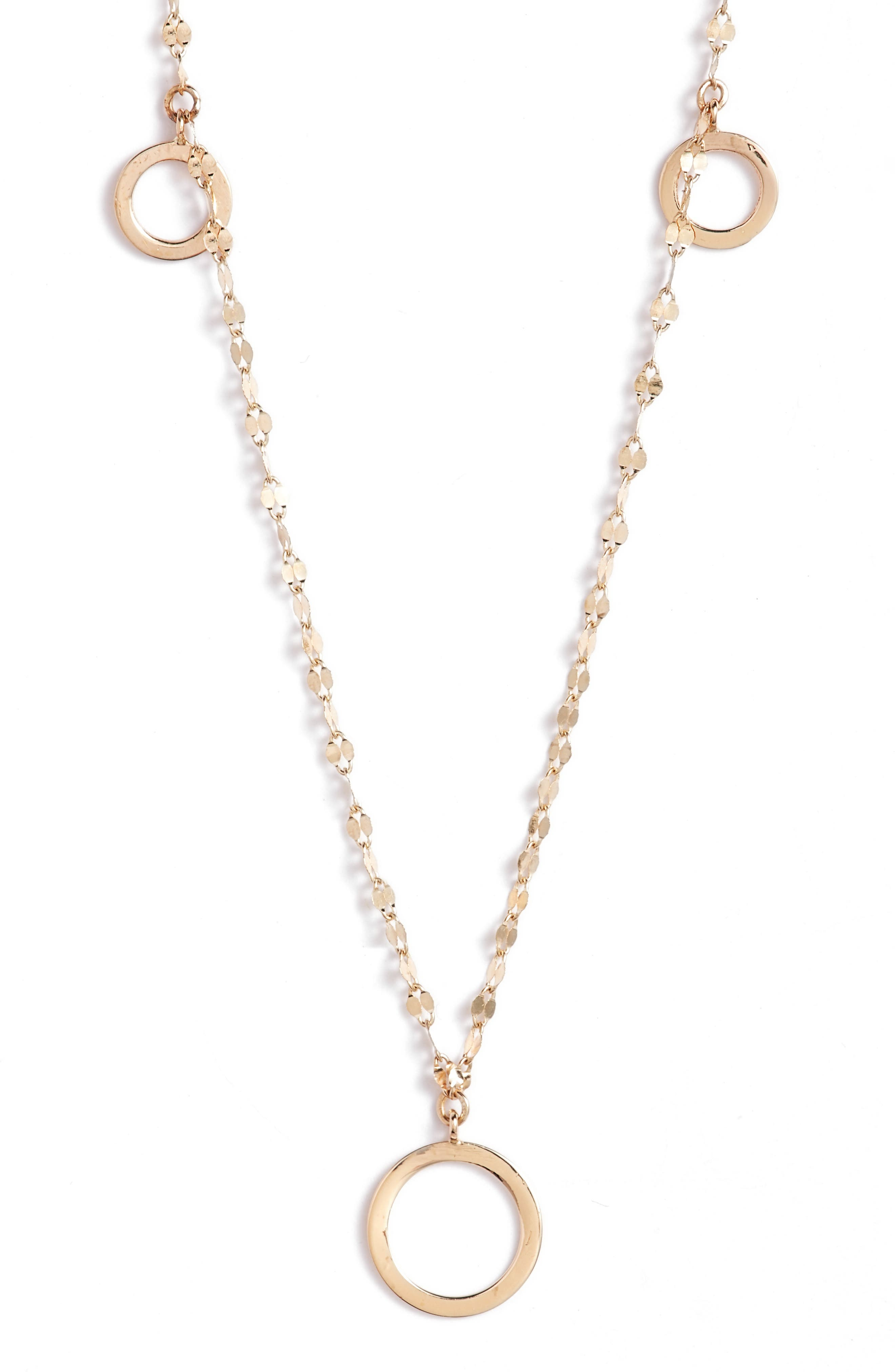 Open Disc Frontal Necklace,                         Main,                         color, Yellow Gold