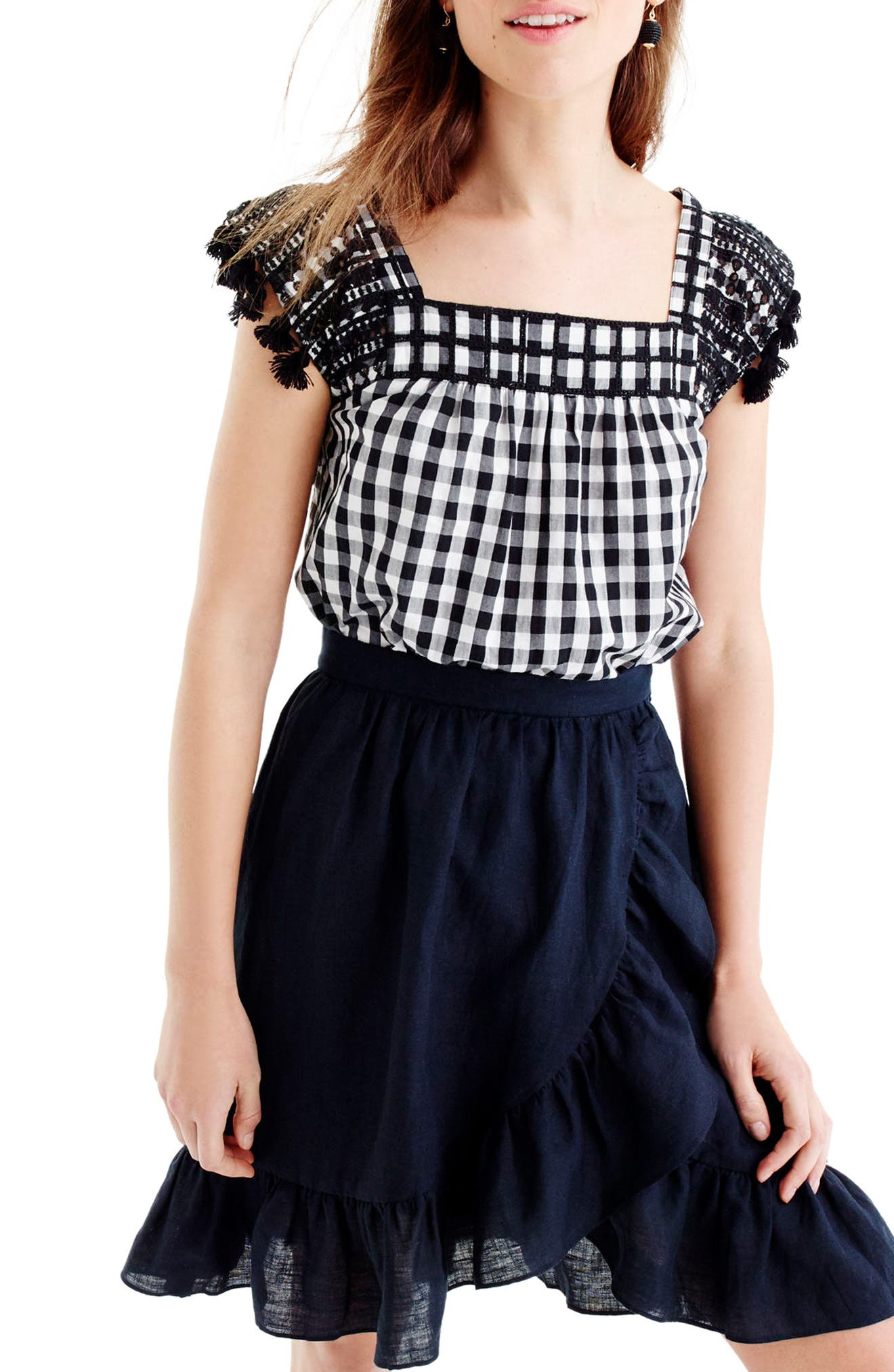 J.Crew Embroidered Gingham Top,                             Main thumbnail 1, color,                             Black