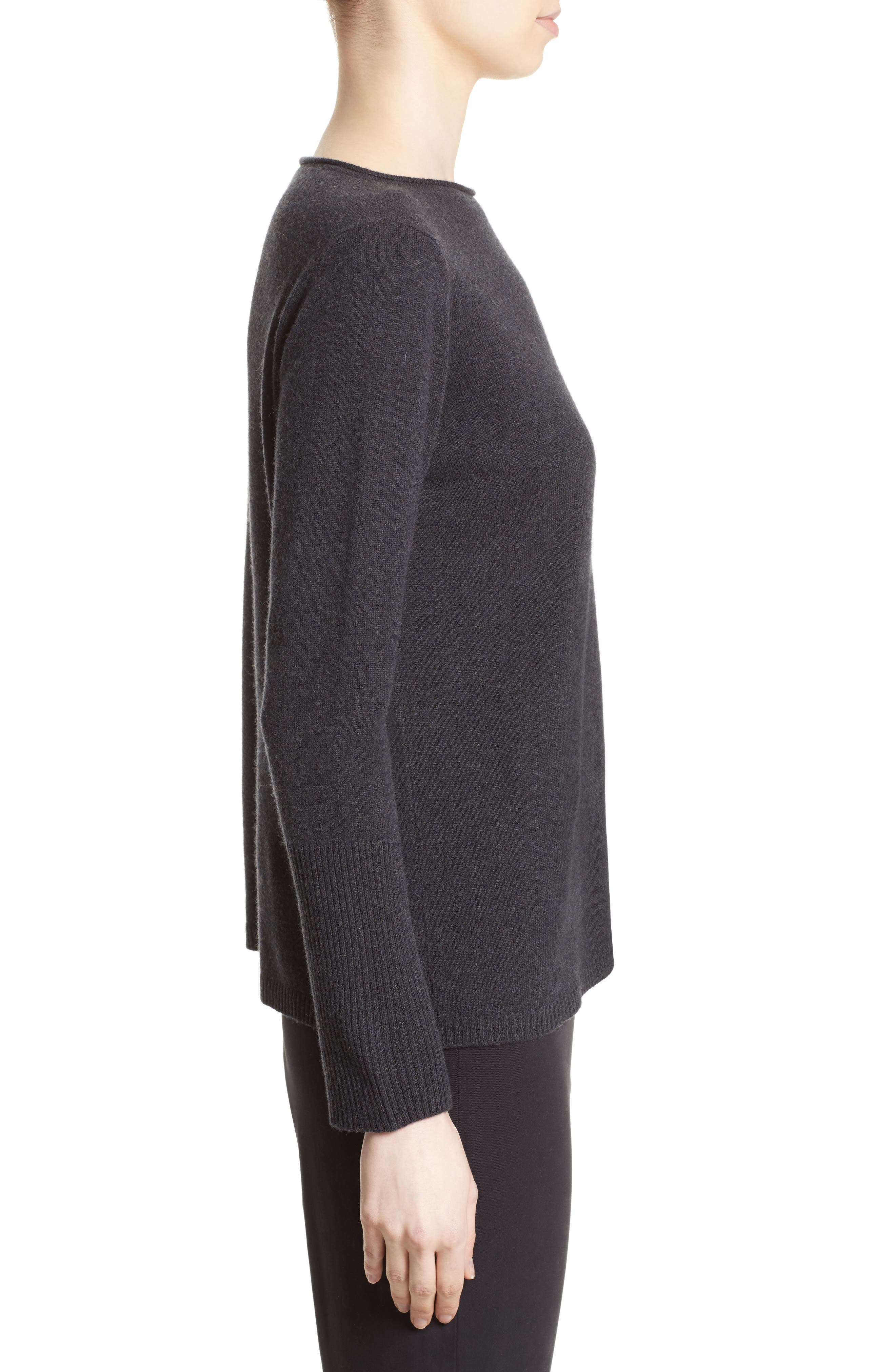 Wool, Silk & Cashmere Boatneck Sweater,                             Alternate thumbnail 5, color,                             Charcoal Navy