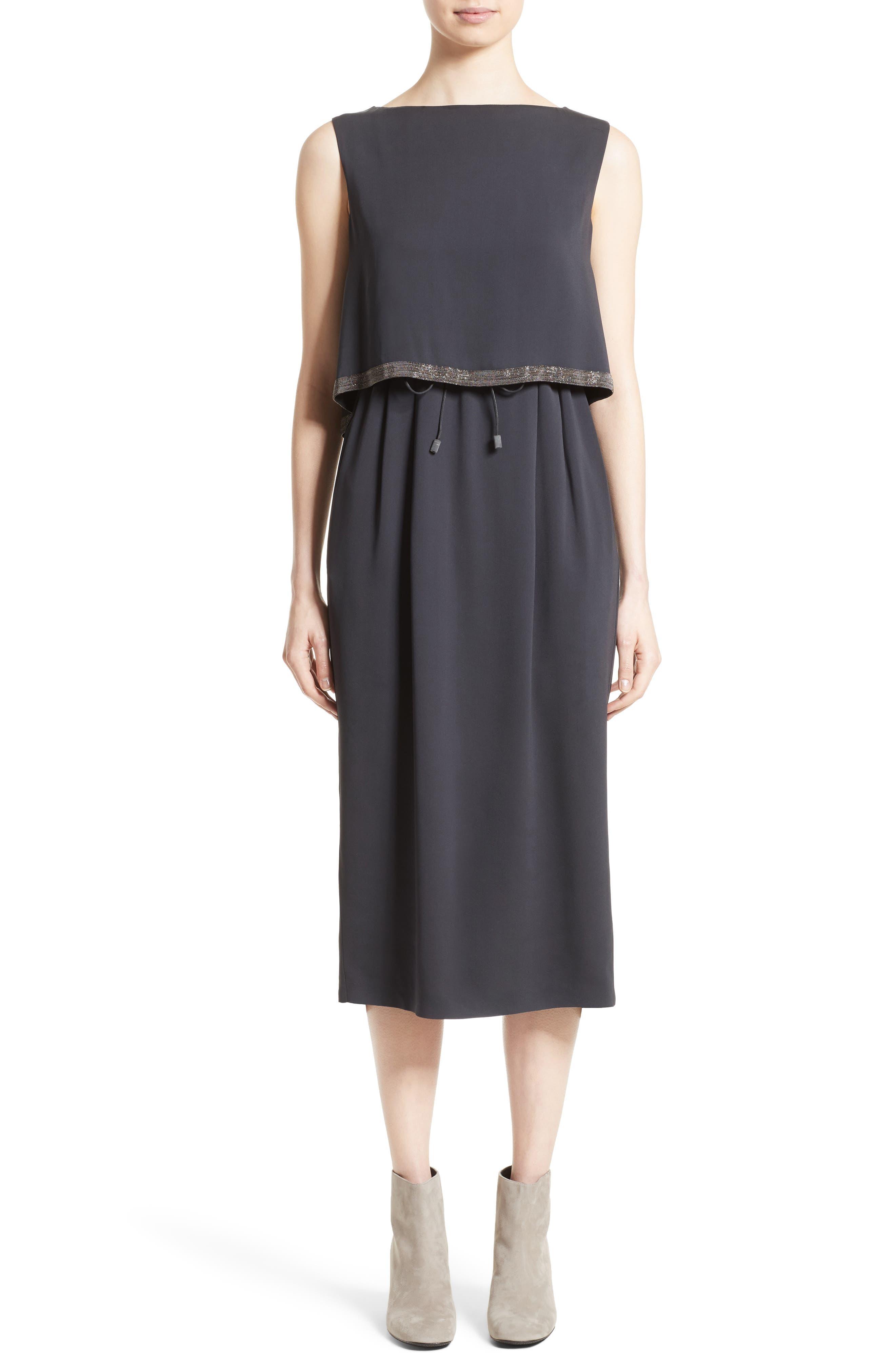 Embellished Silk Drawstring Dress,                             Main thumbnail 1, color,                             Slate