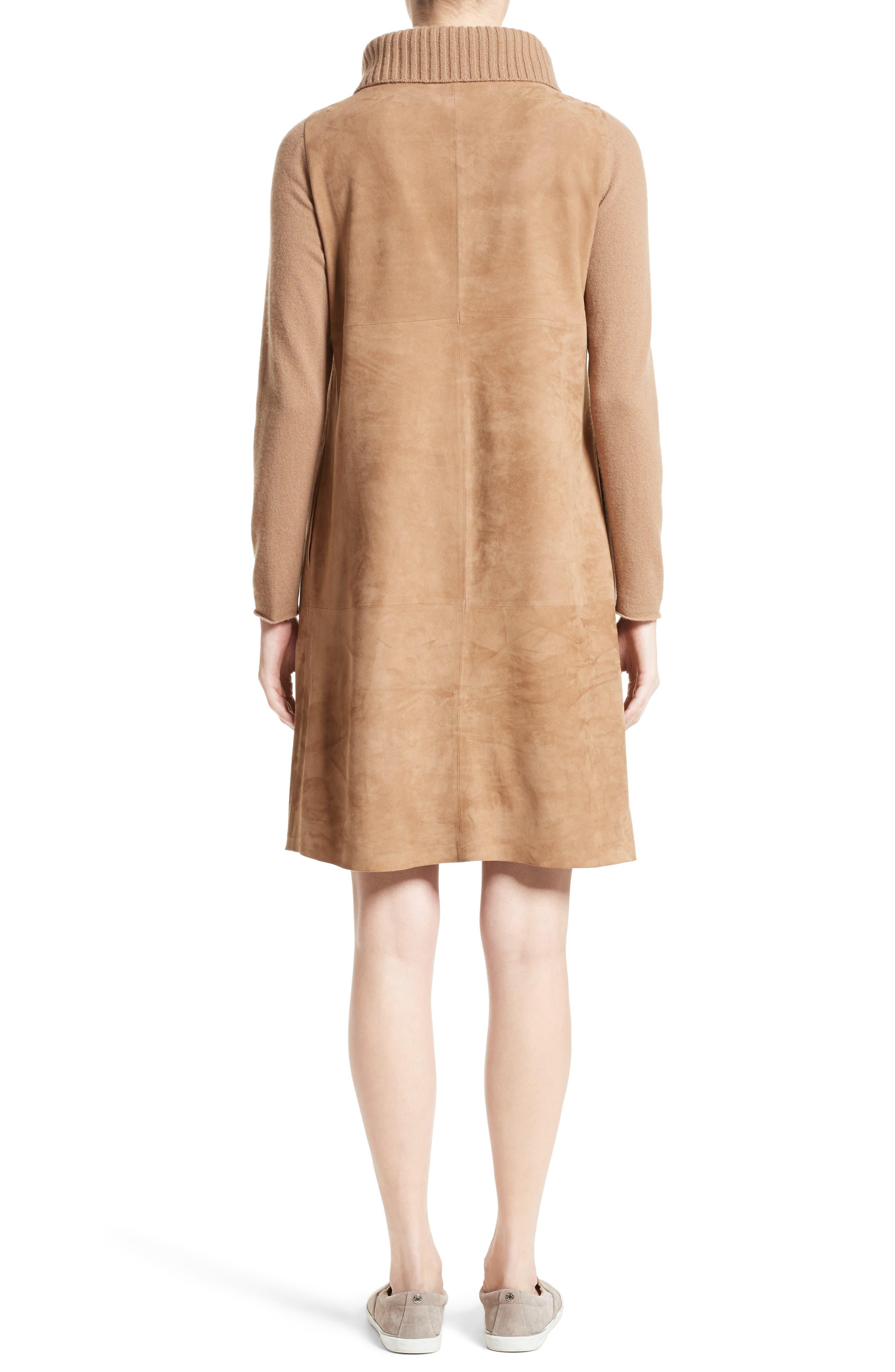 Suede & Cashmere Dress,                             Alternate thumbnail 2, color,                             Camel