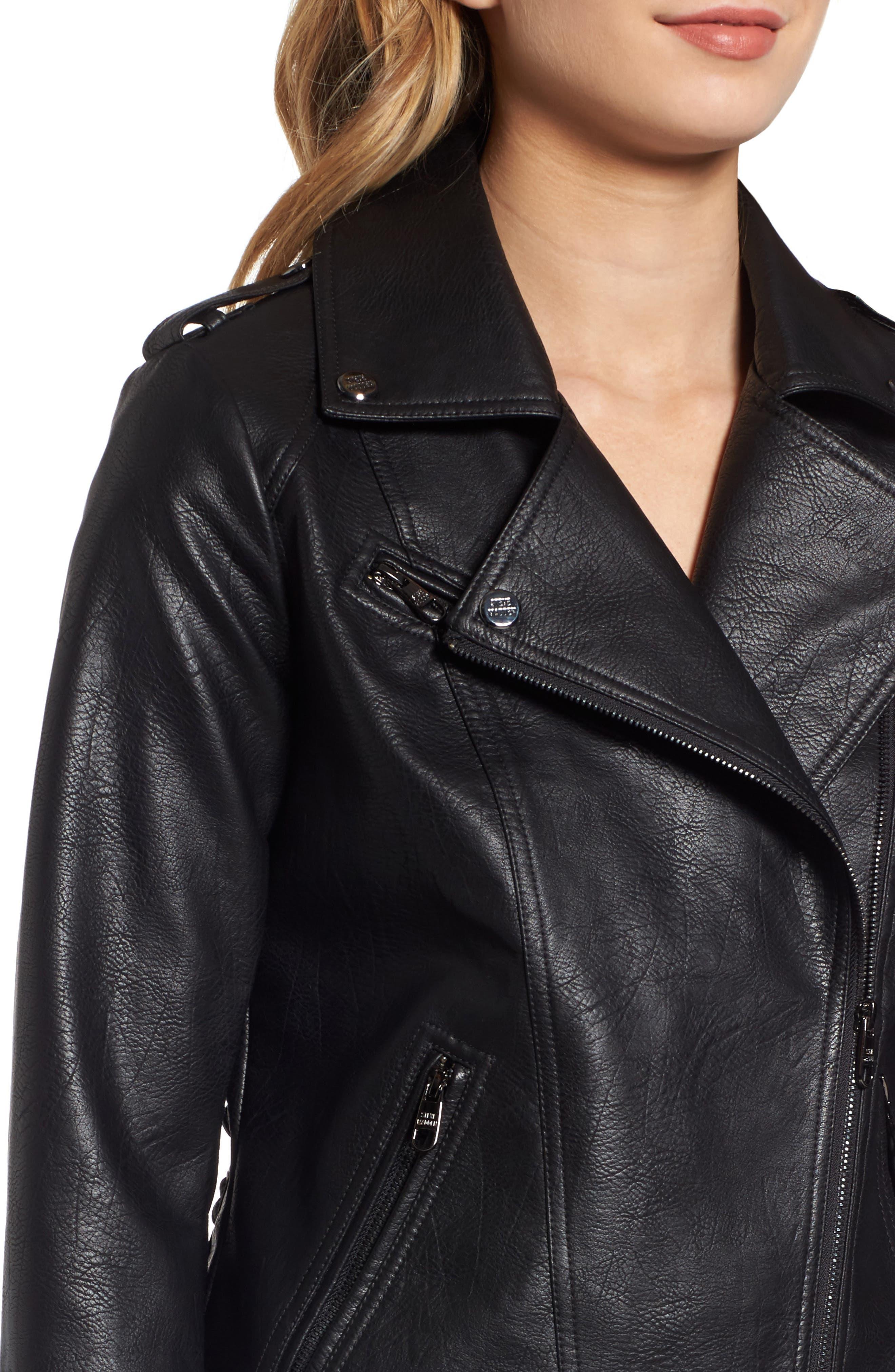 Lace Detail Faux Leather Biker Jacket,                             Alternate thumbnail 4, color,                             Black