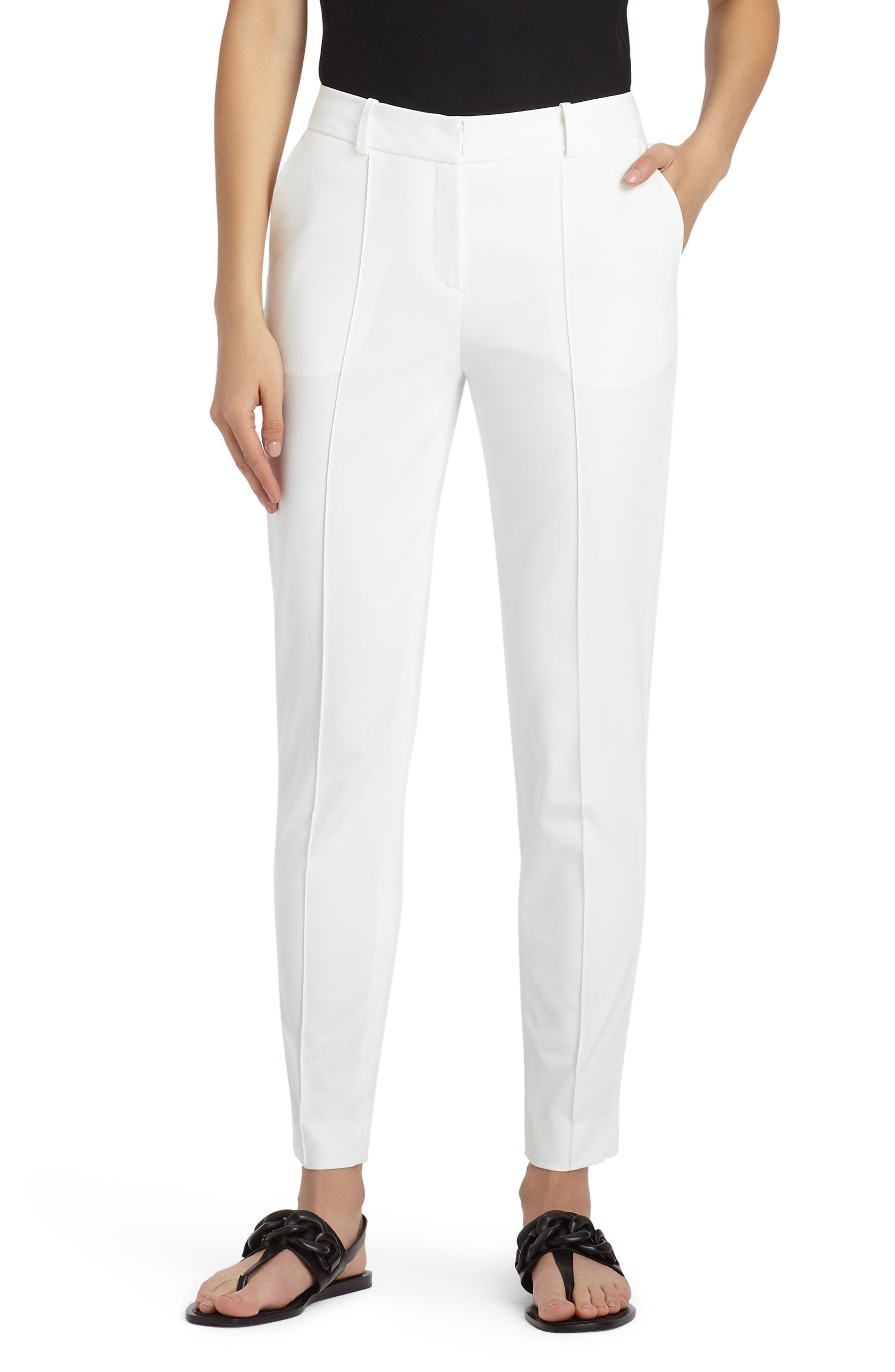 Seamed Back Slit Pants,                         Main,                         color, White