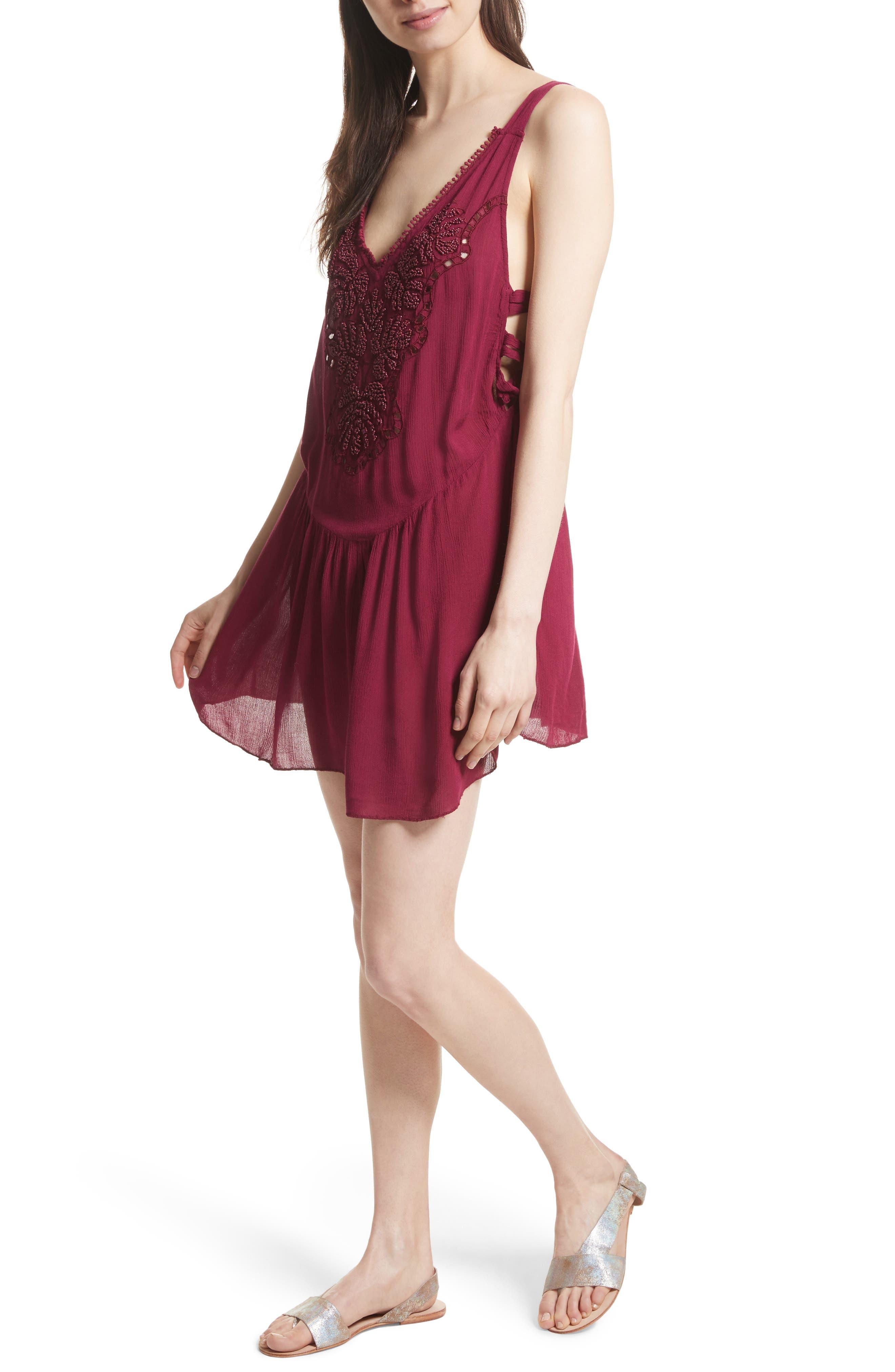 Delphine Embellished Slipdress,                         Main,                         color, Plum