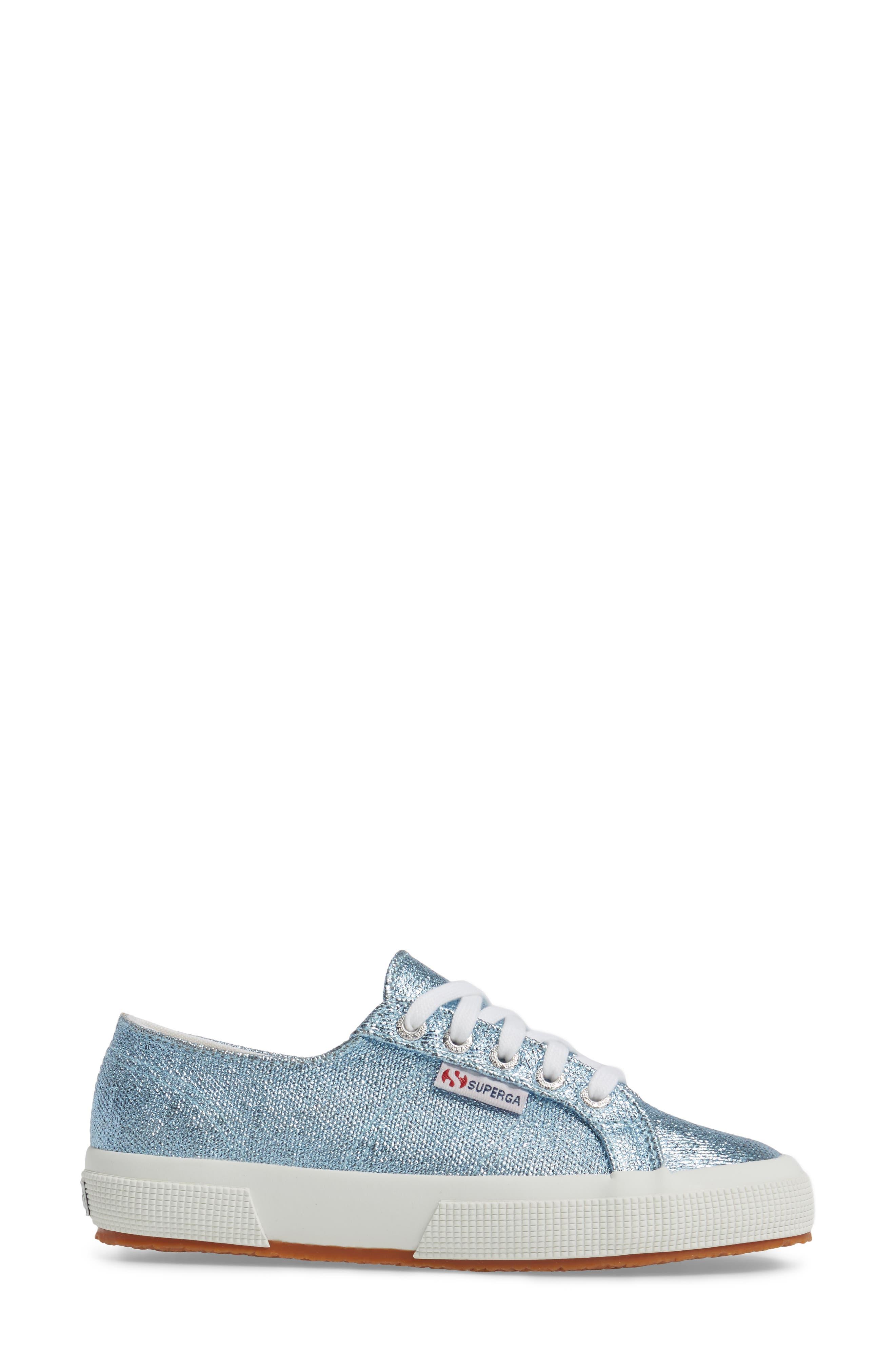 2750 Metallic Sneaker,                             Alternate thumbnail 3, color,                             Light Blue