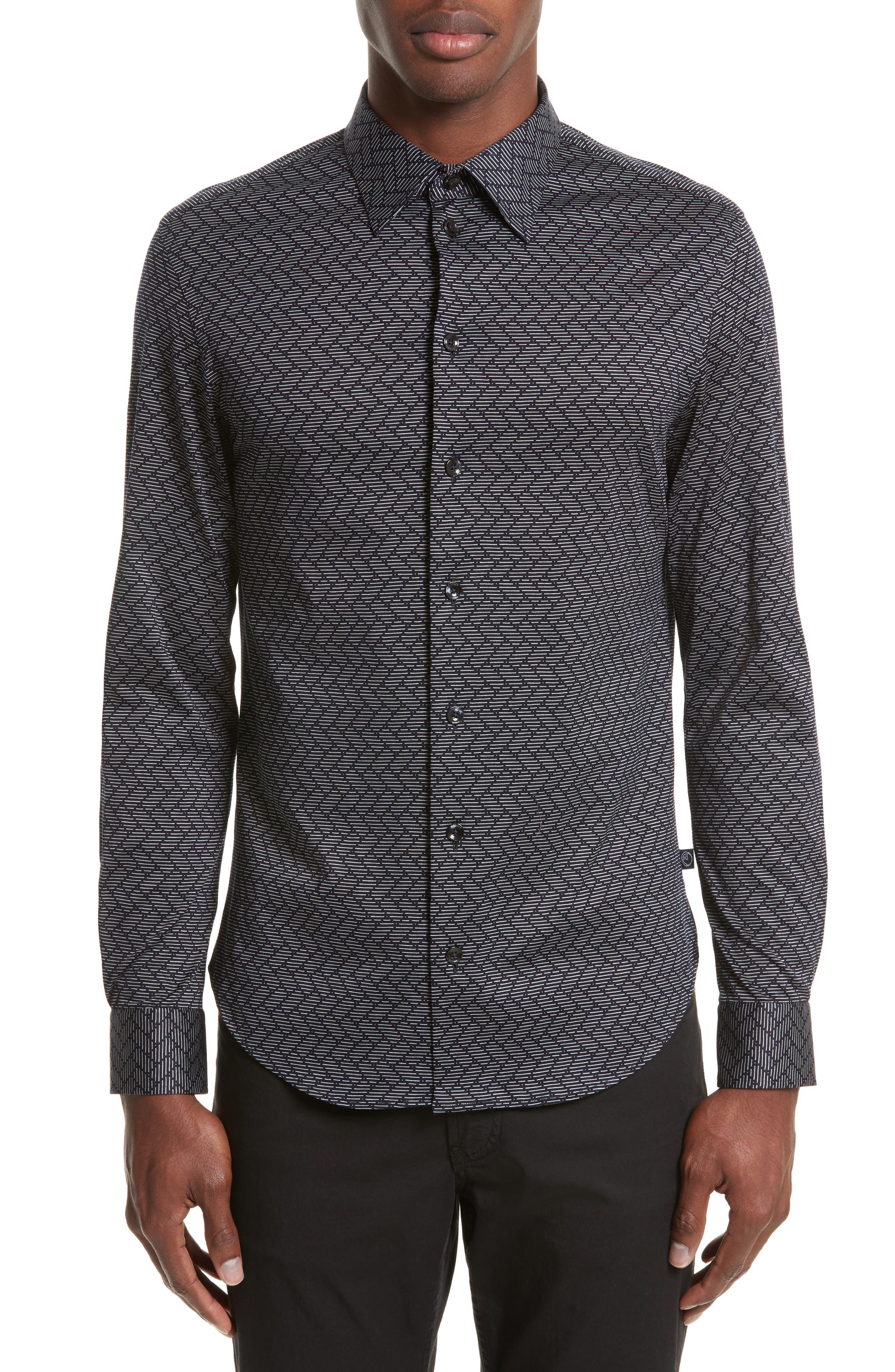 Regular Fit Chevron Stripe Sport Shirt,                         Main,                         color, Fancy Blue Tone