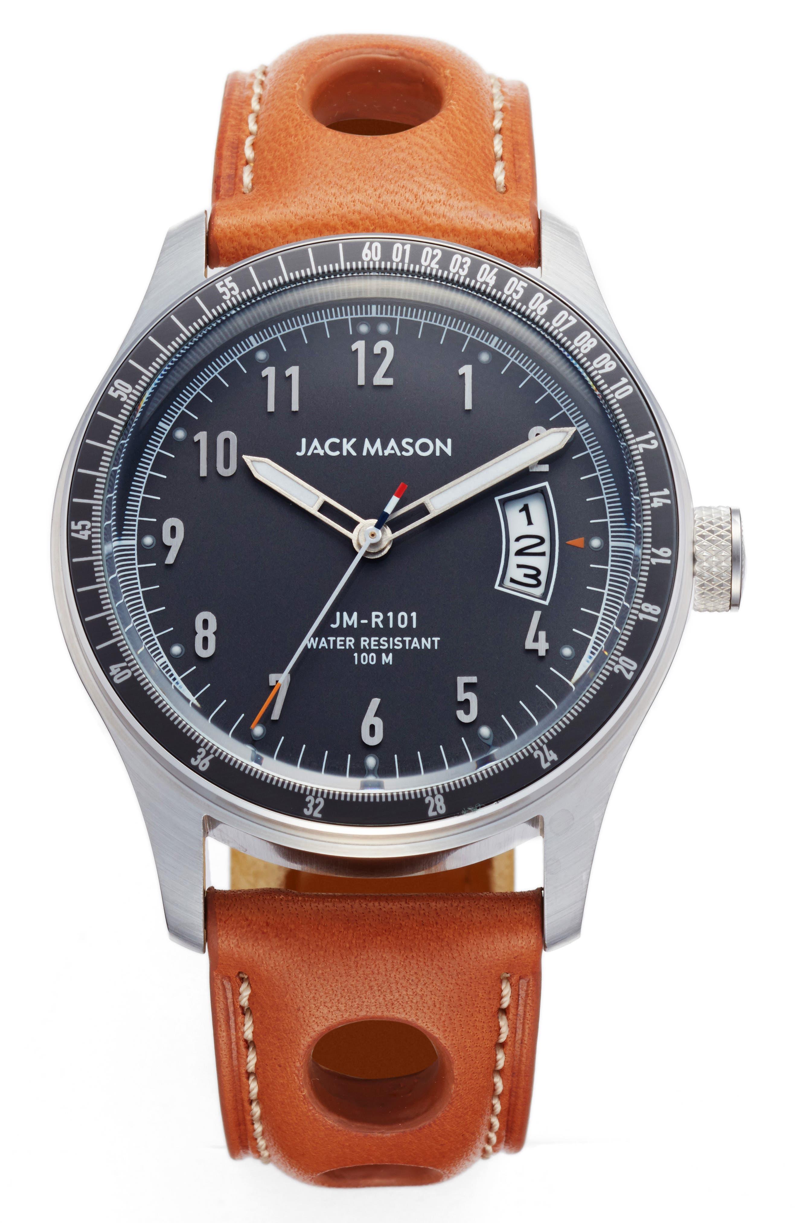 Jack Mason Racing Leather Strap Watch, 42mm
