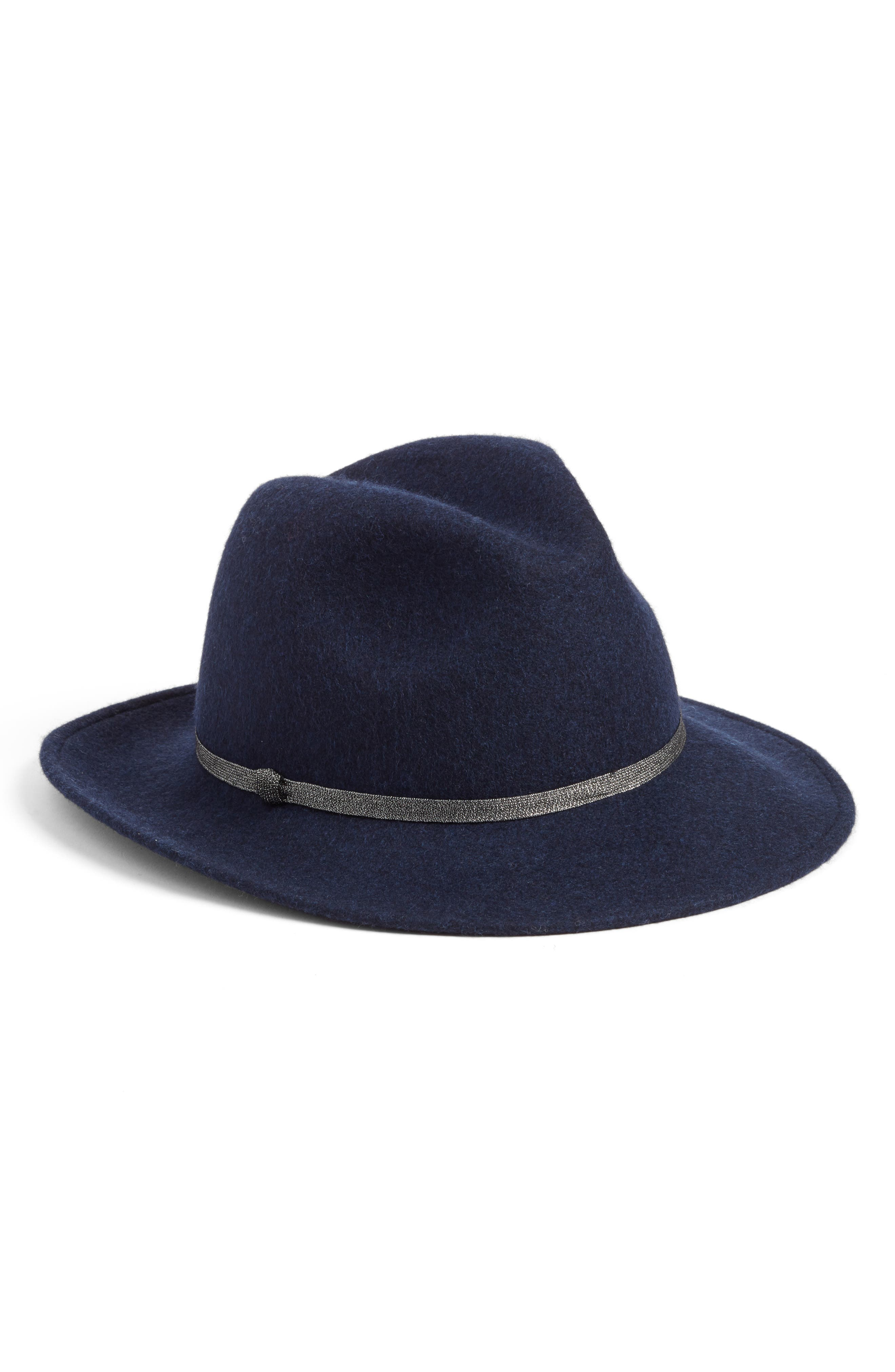 Metallic Band Wool Felt Panama Hat,                         Main,                         color, Navy Heather
