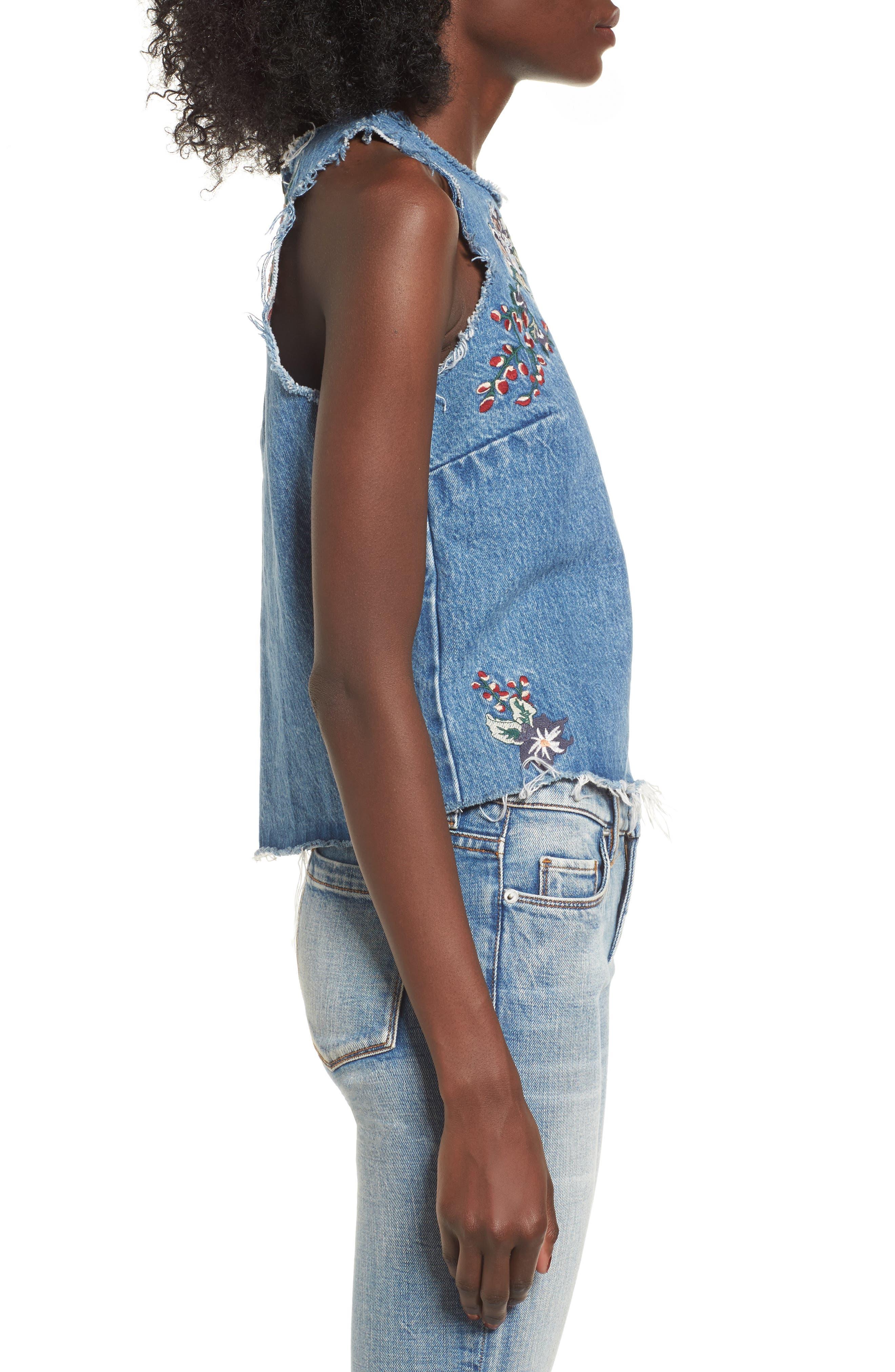 Scarlett Embroidered Denim Tank Top,                             Alternate thumbnail 3, color,                             Nairobi Wash