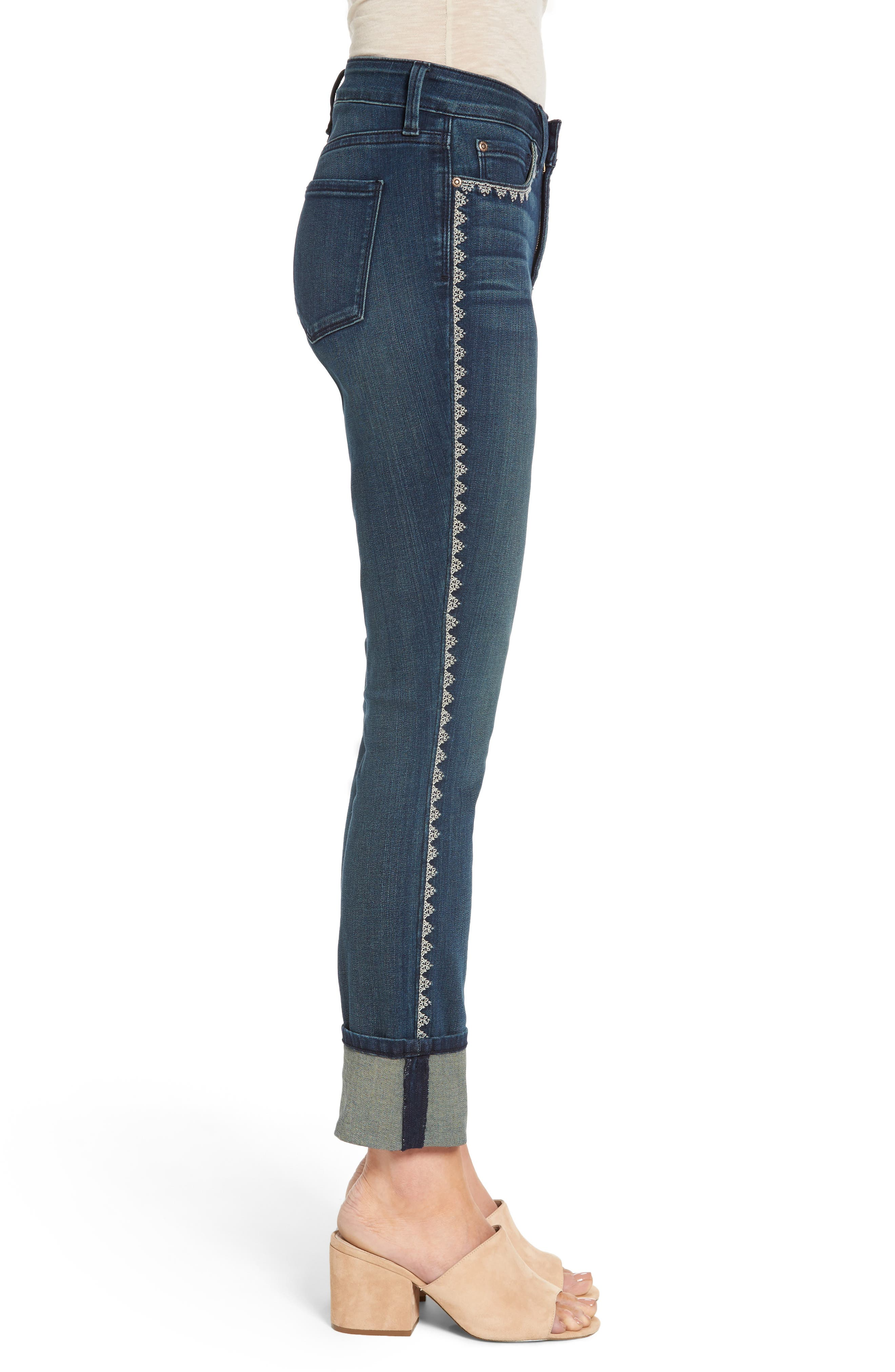 Alina Embroidered Wide Cuff Stretch Ankle Jeans,                             Alternate thumbnail 3, color,                             Oak Hill
