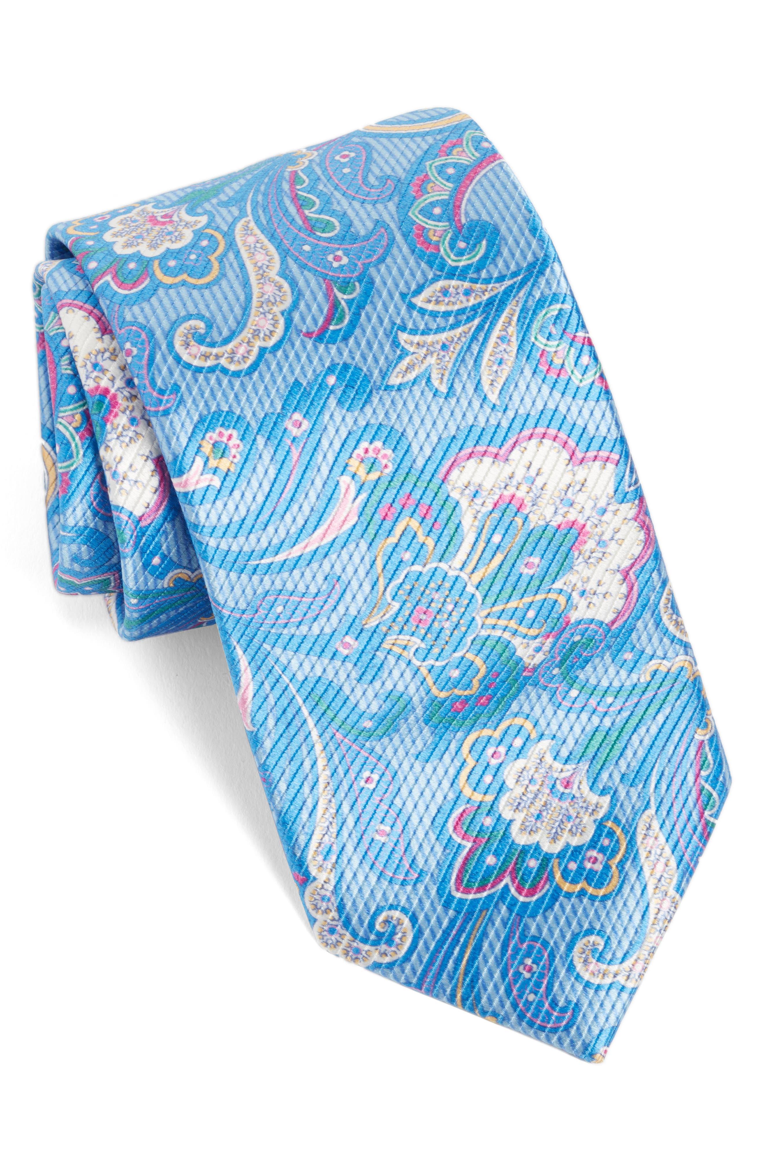 Paisley Silk Tie,                             Main thumbnail 1, color,                             Sky