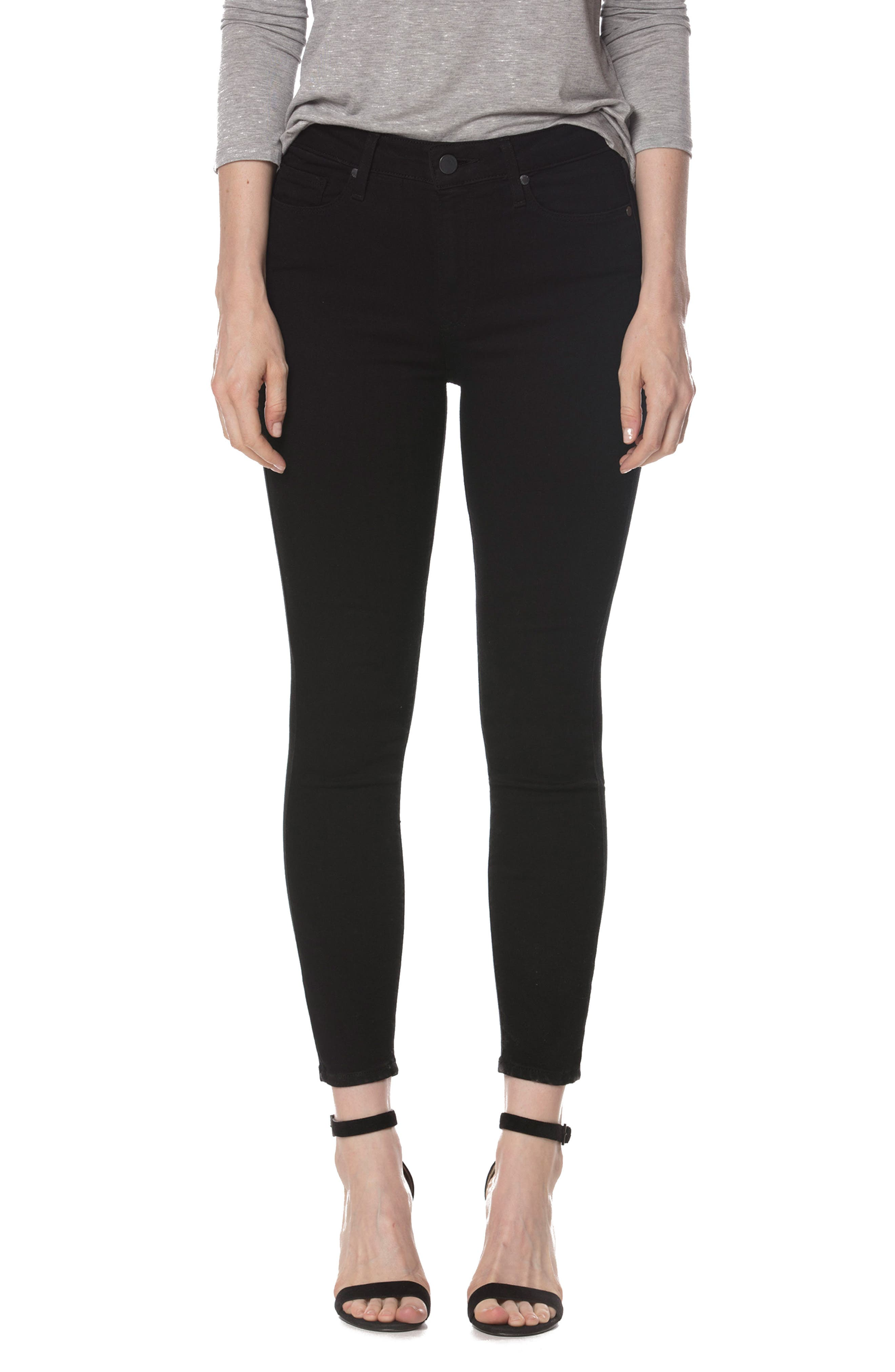 Alternate Image 1 Selected - PAIGE Hoxton High Waist Crop Skinny Jeans (Black Shadow)