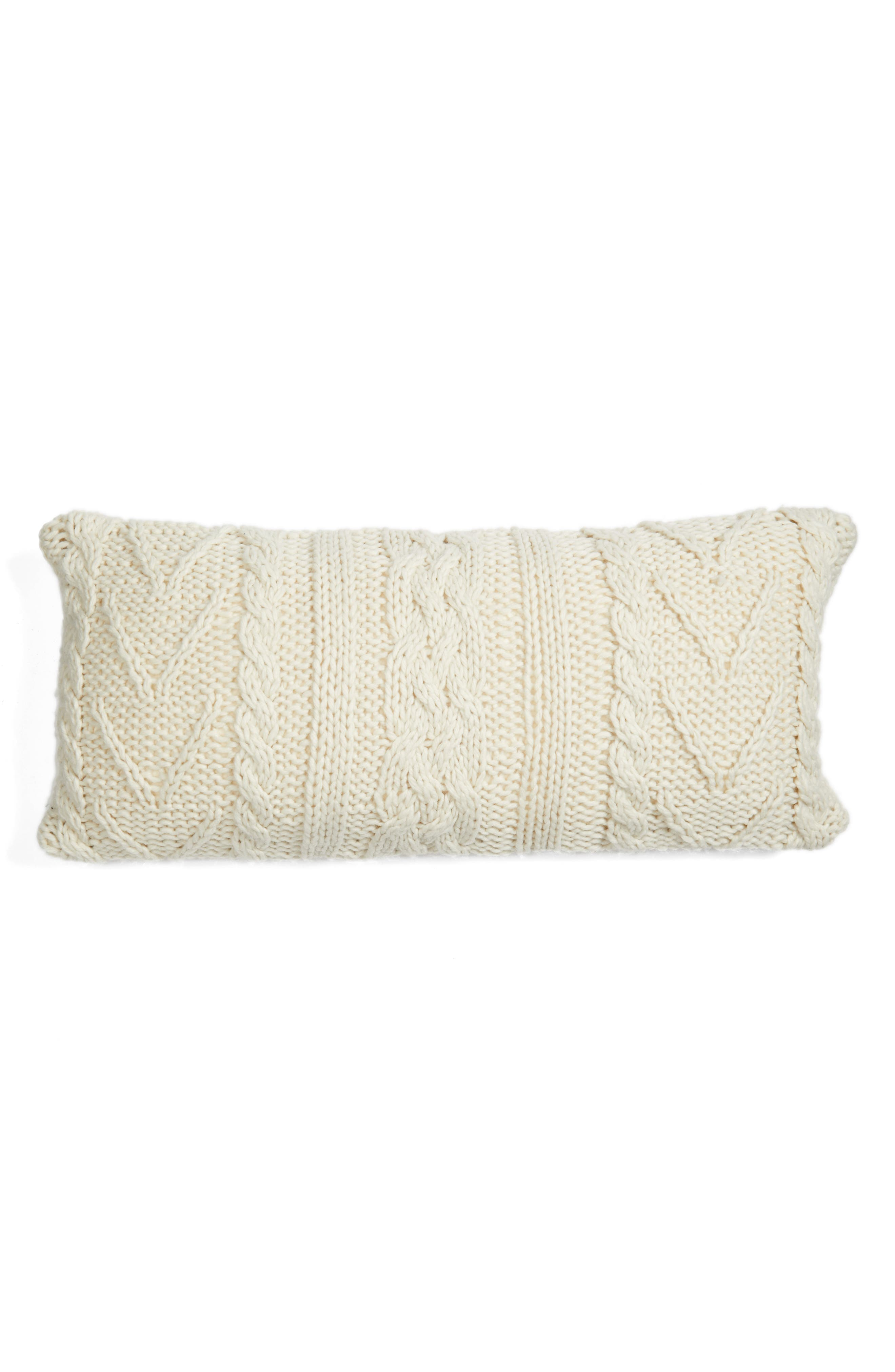Cable Knit Accent Pillow,                             Alternate thumbnail 4, color,                             Ivory Dove