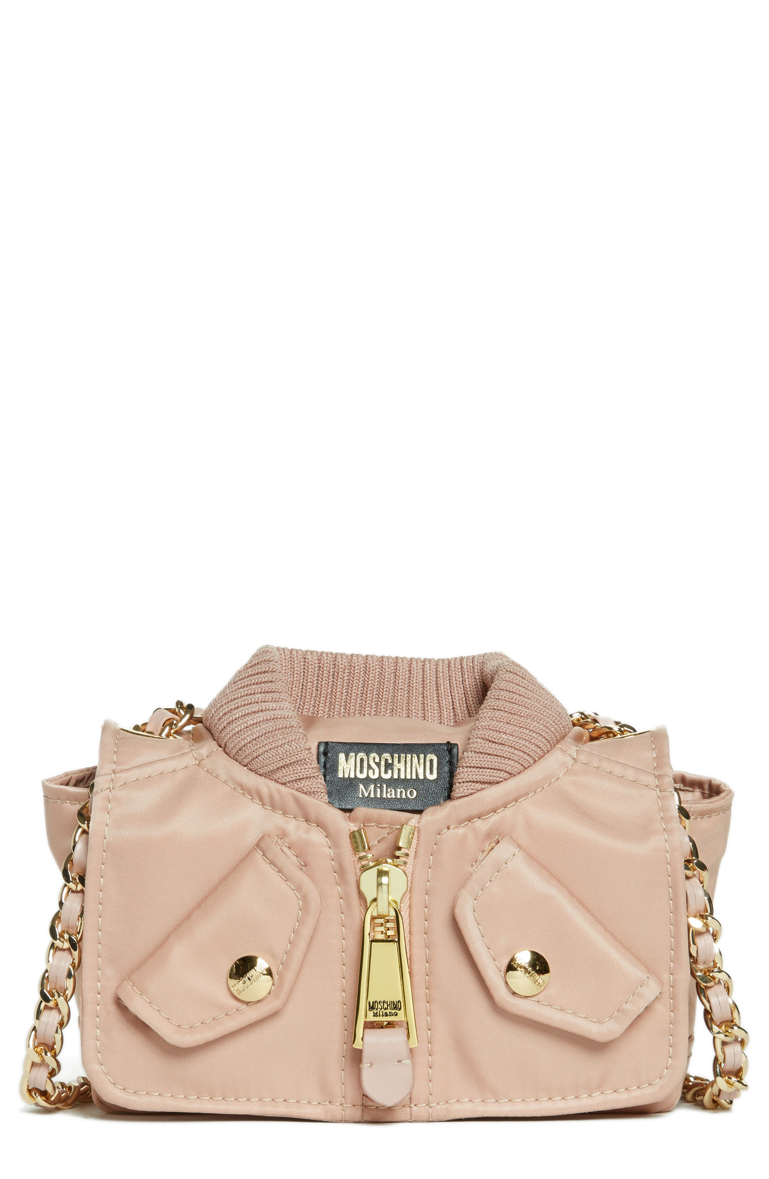 Alternate Image 1 Selected - Moschino Small Biker Jacket Nylon Shoulder Bag