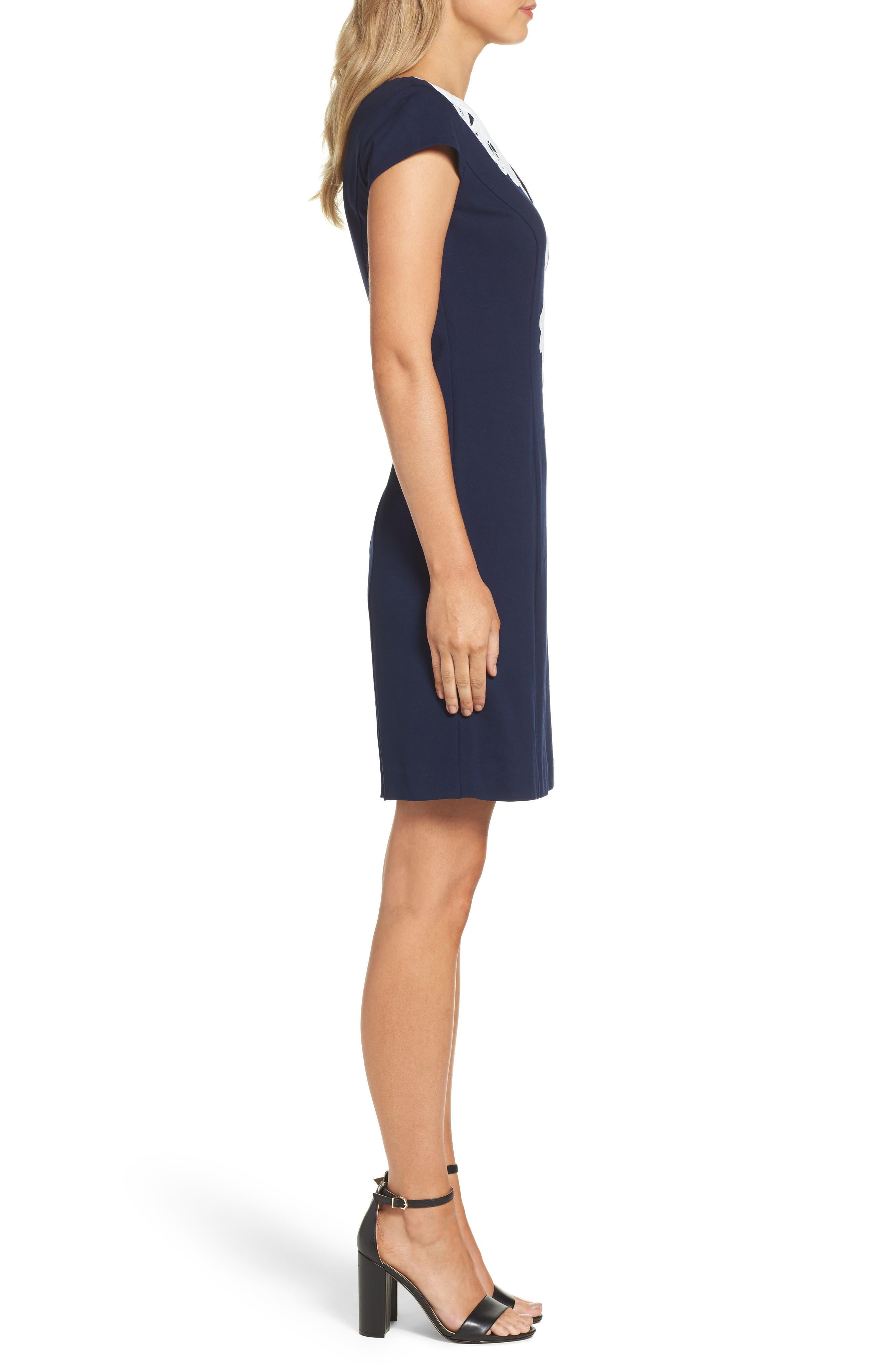 Cap Sleeve Sheath Dress,                             Alternate thumbnail 3, color,                             Navy