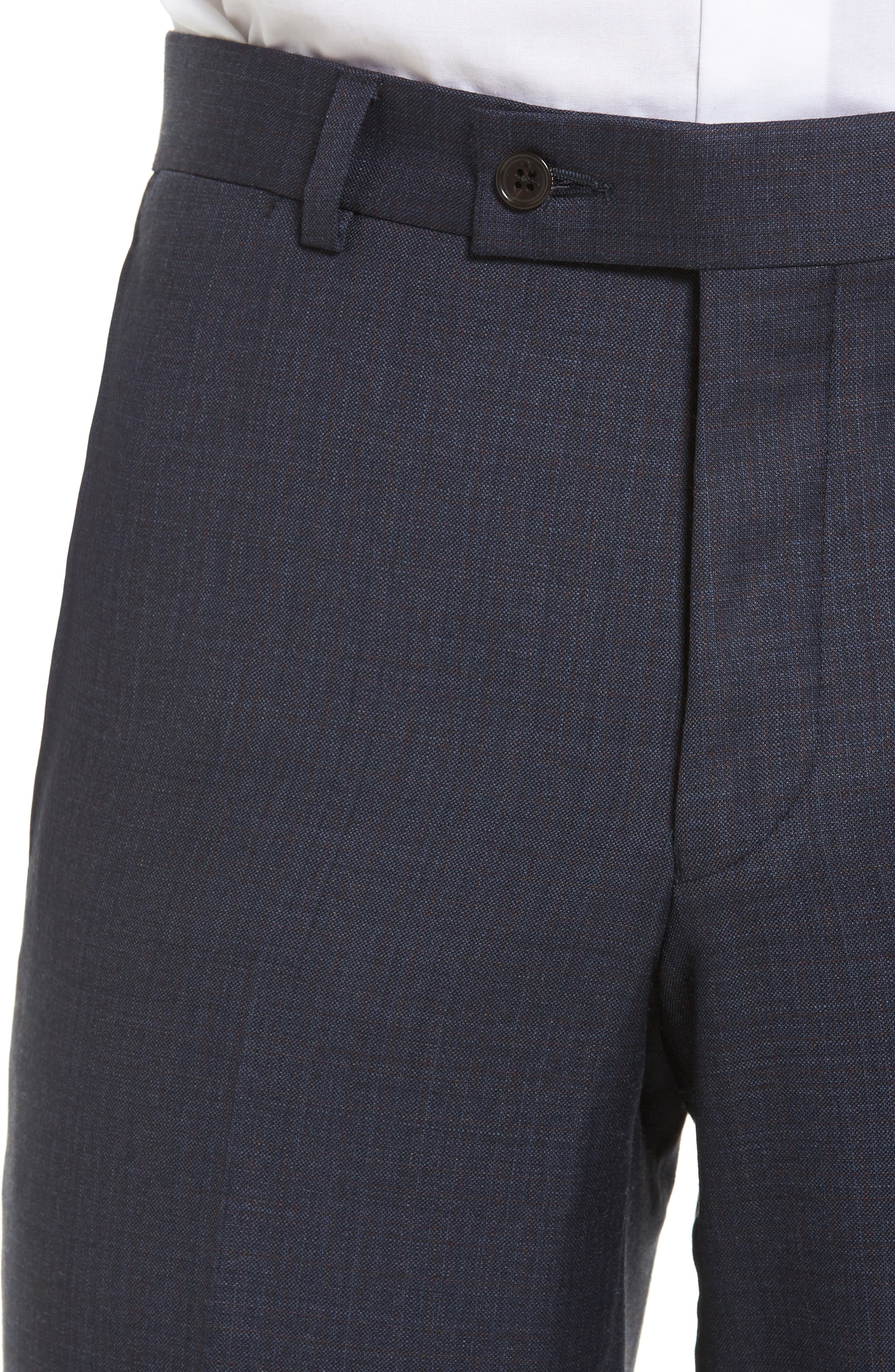 Jefferson Flat Front Solid Wool Trousers,                             Alternate thumbnail 4, color,                             Navy