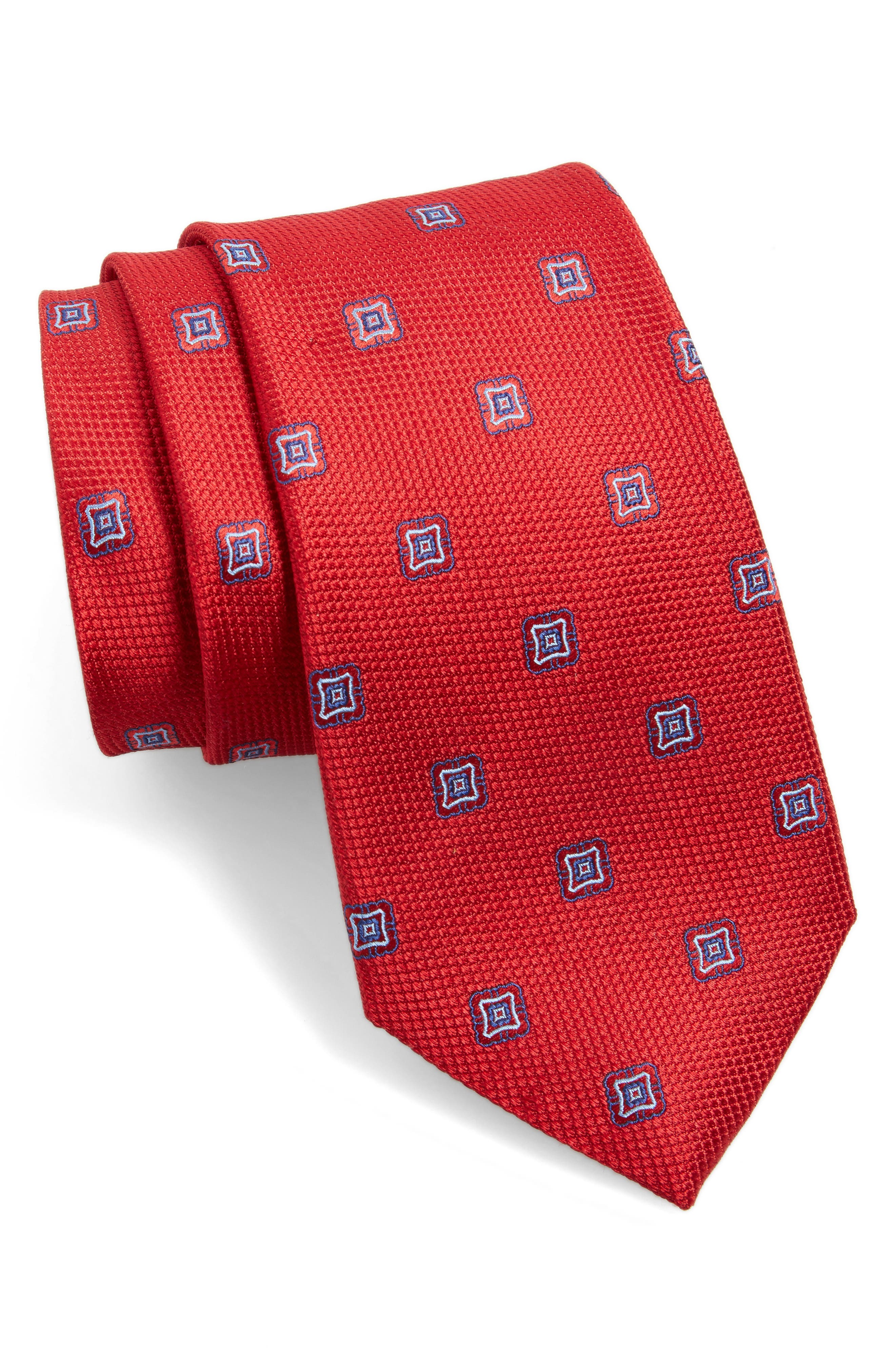 Medallion Silk Tie,                             Main thumbnail 1, color,                             Red