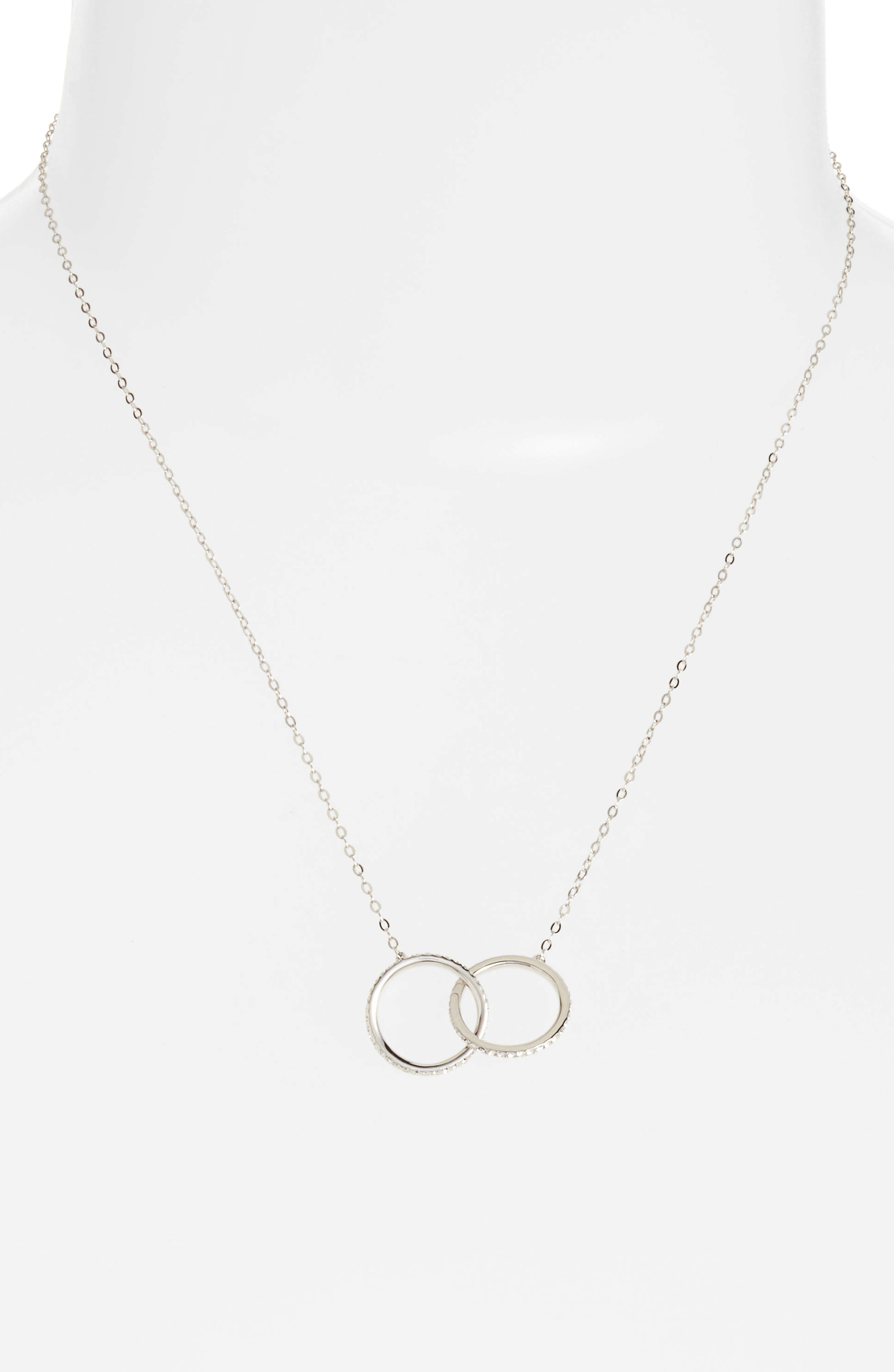 Trinity Double Link Pendant Necklace,                         Main,                         color, Silver