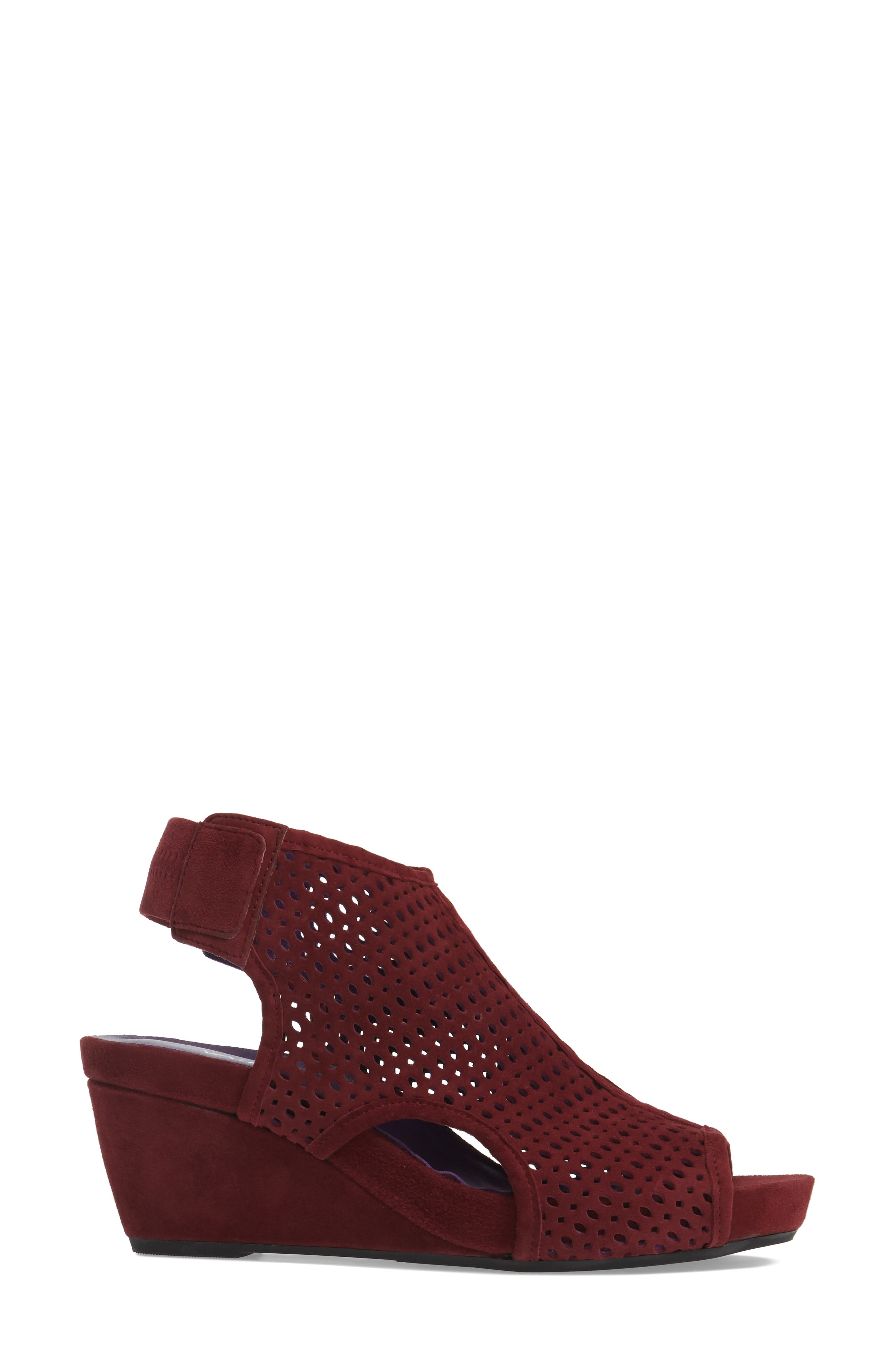 'Inez' Wedge Sandal,                             Alternate thumbnail 3, color,                             Red Suede