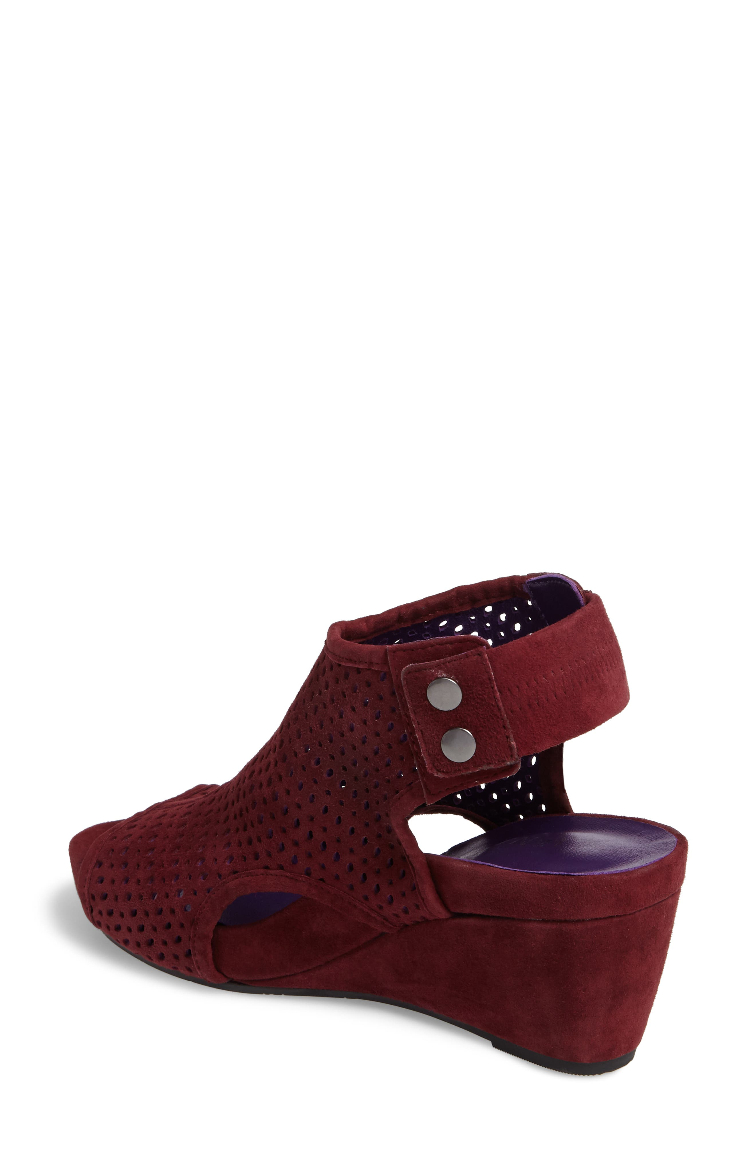 'Inez' Wedge Sandal,                             Alternate thumbnail 2, color,                             Red Suede