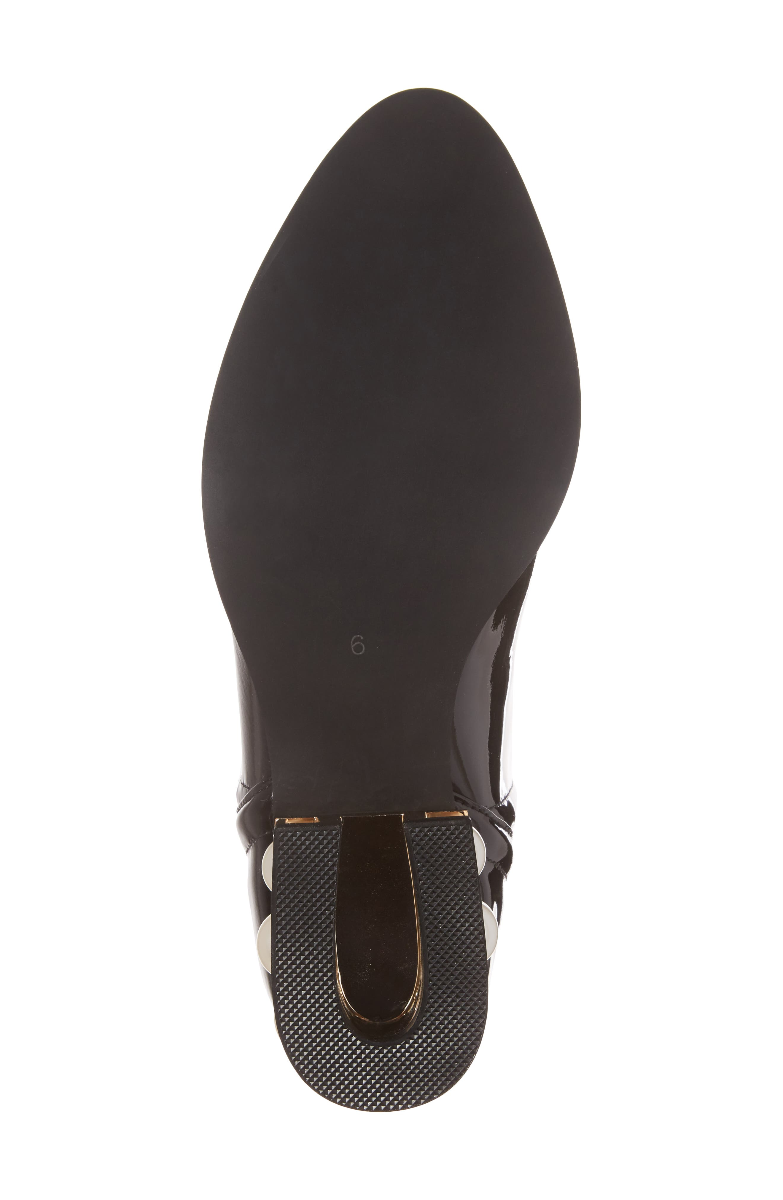 Musklo Split-Shaft Bootie,                             Alternate thumbnail 6, color,                             Black/ Gold Patent Leather