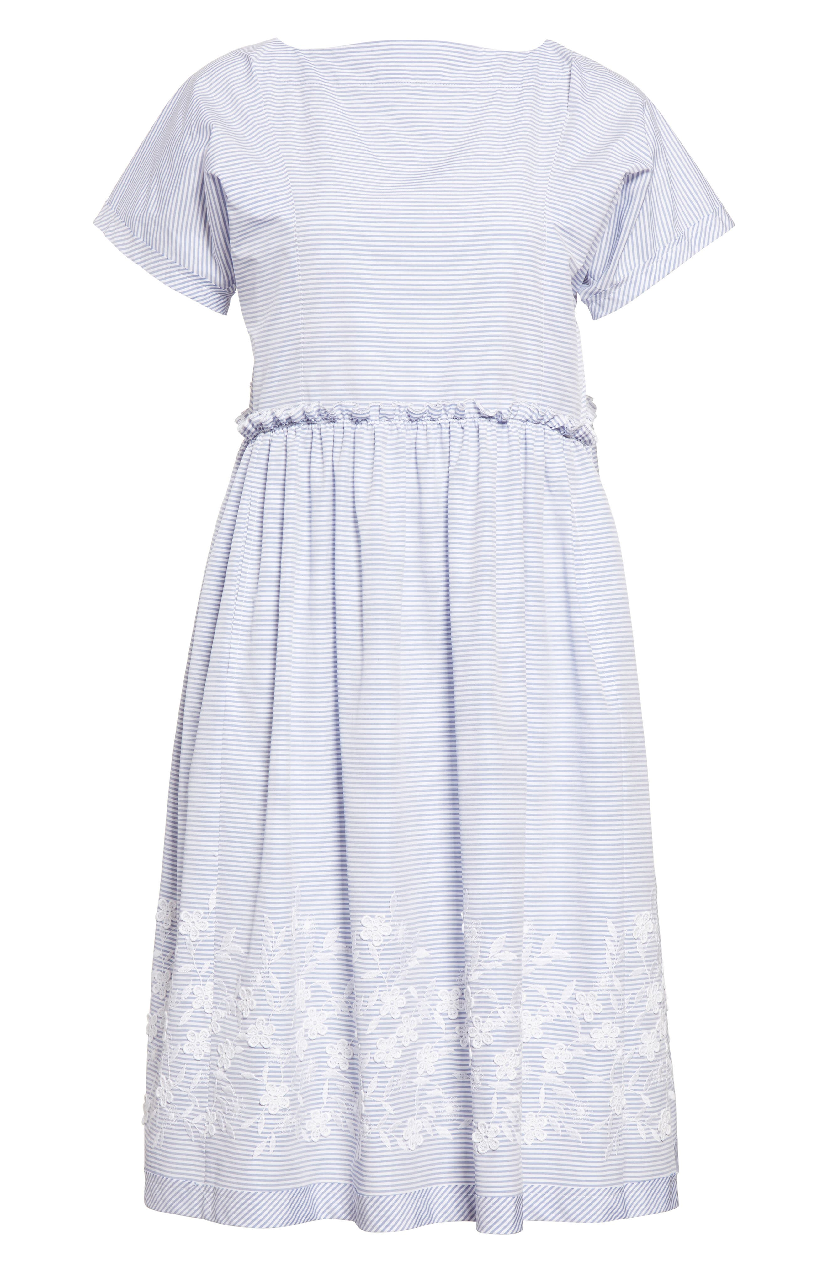 Floral Embroidered Stripe Shift Dress,                             Alternate thumbnail 4, color,                             Wide Stripe