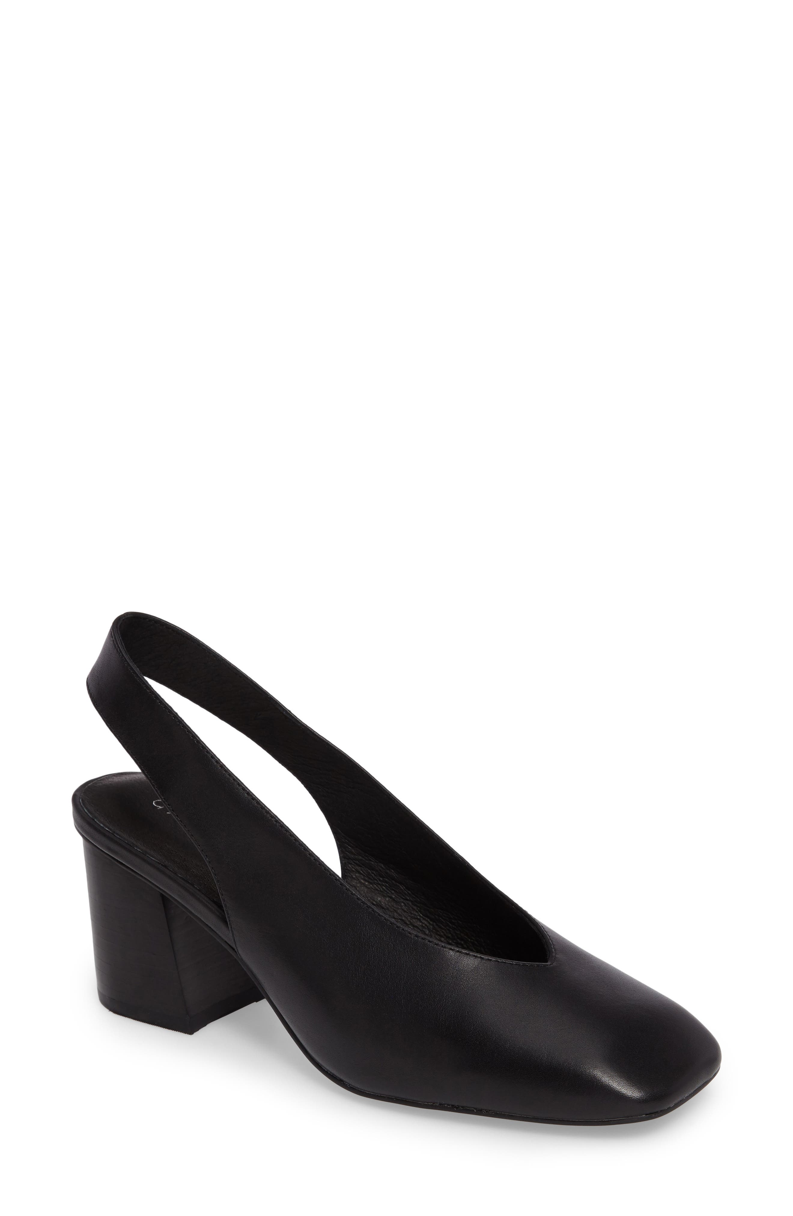 Sydney Square-Toe Slingback Pump,                             Main thumbnail 1, color,                             Black