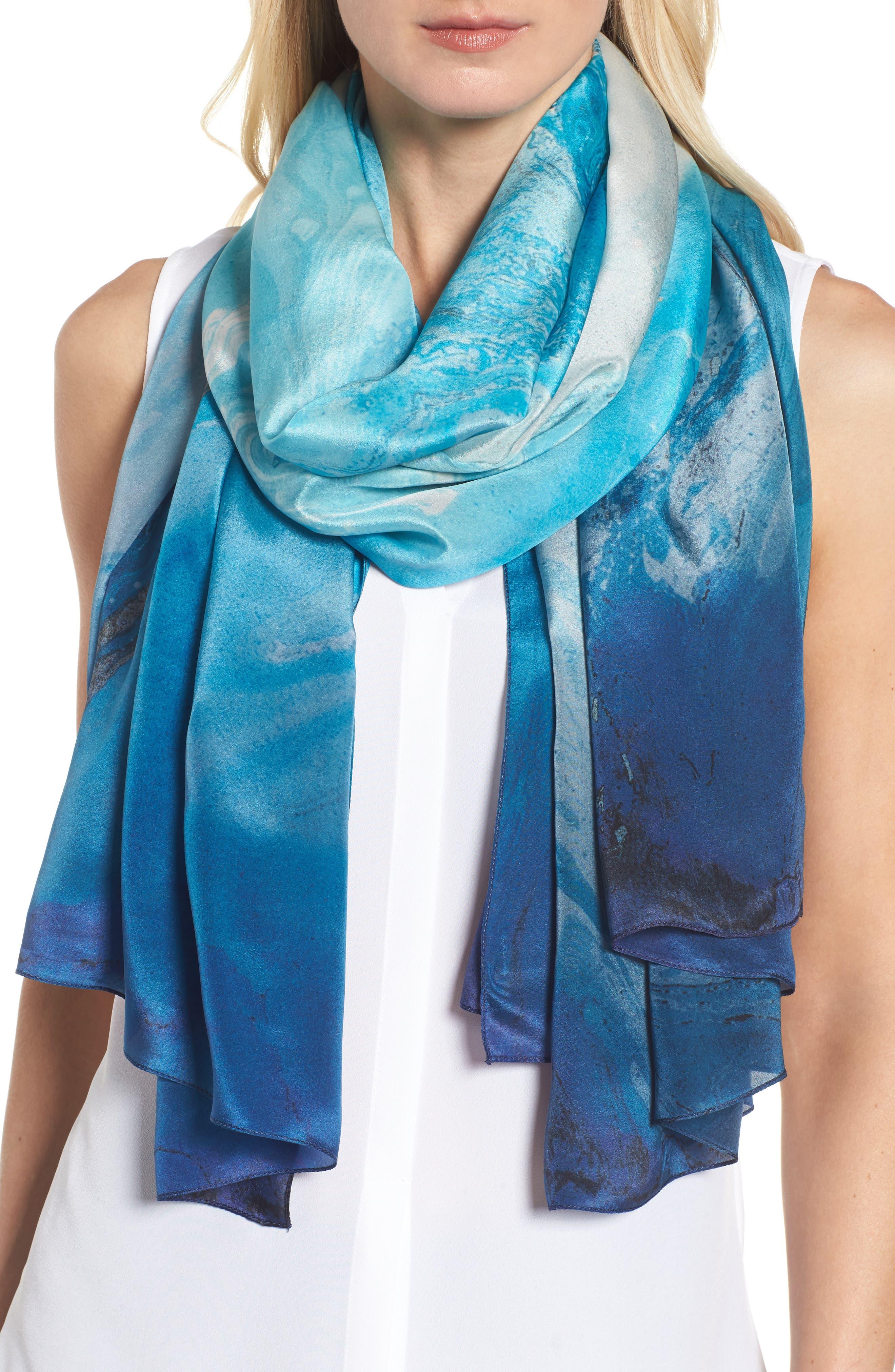 Ocean Ombré Silk Wrap,                             Main thumbnail 1, color,                             Blue Combo