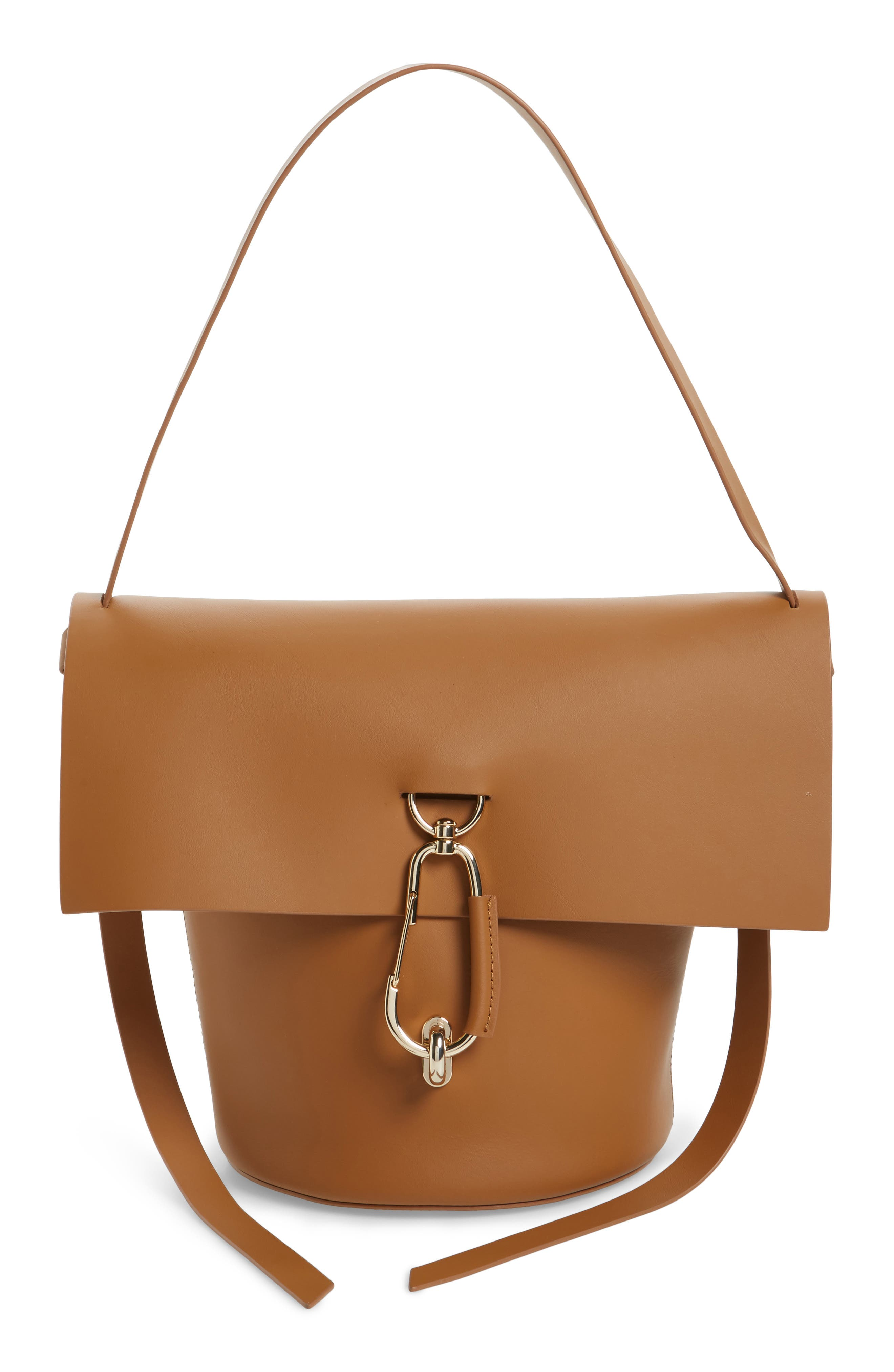 Belay Leather Bucket Bag,                             Main thumbnail 1, color,                             Camel