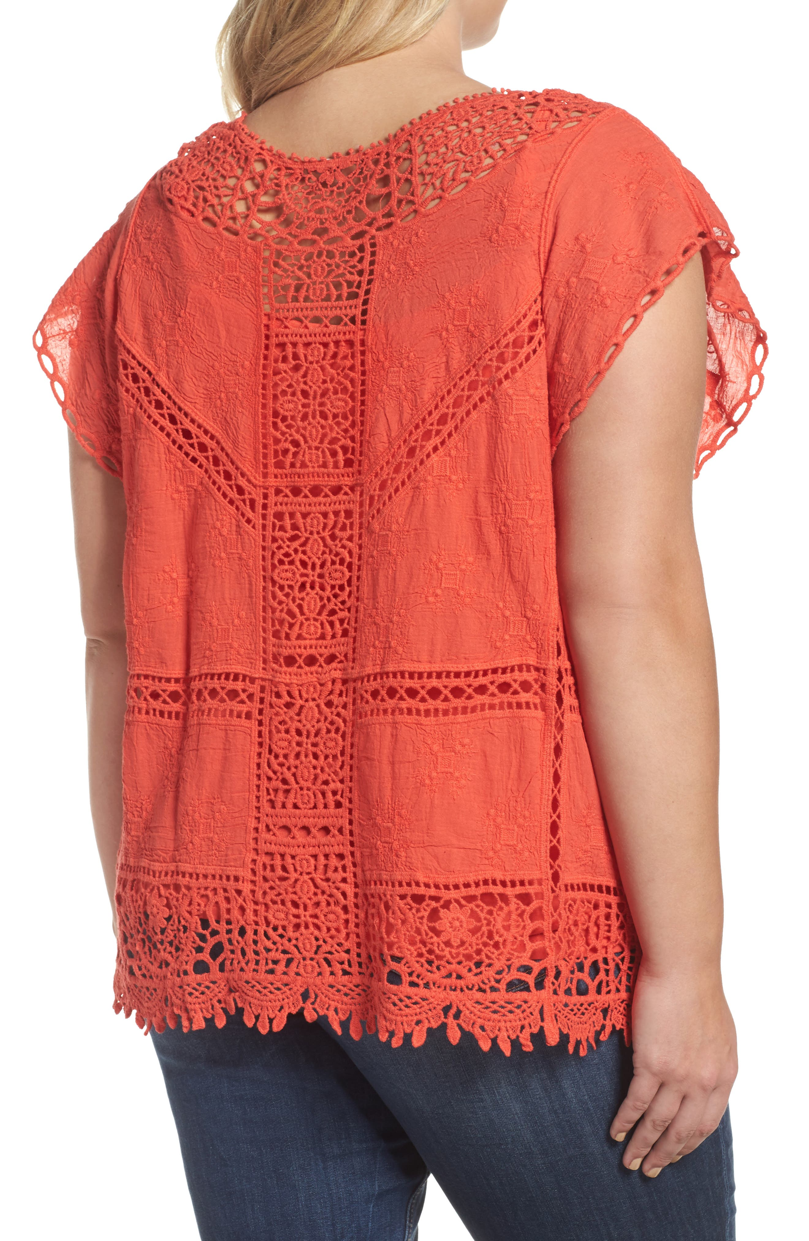 Flutter Sleeve Crochet Top,                             Alternate thumbnail 2, color,                             Red Coral