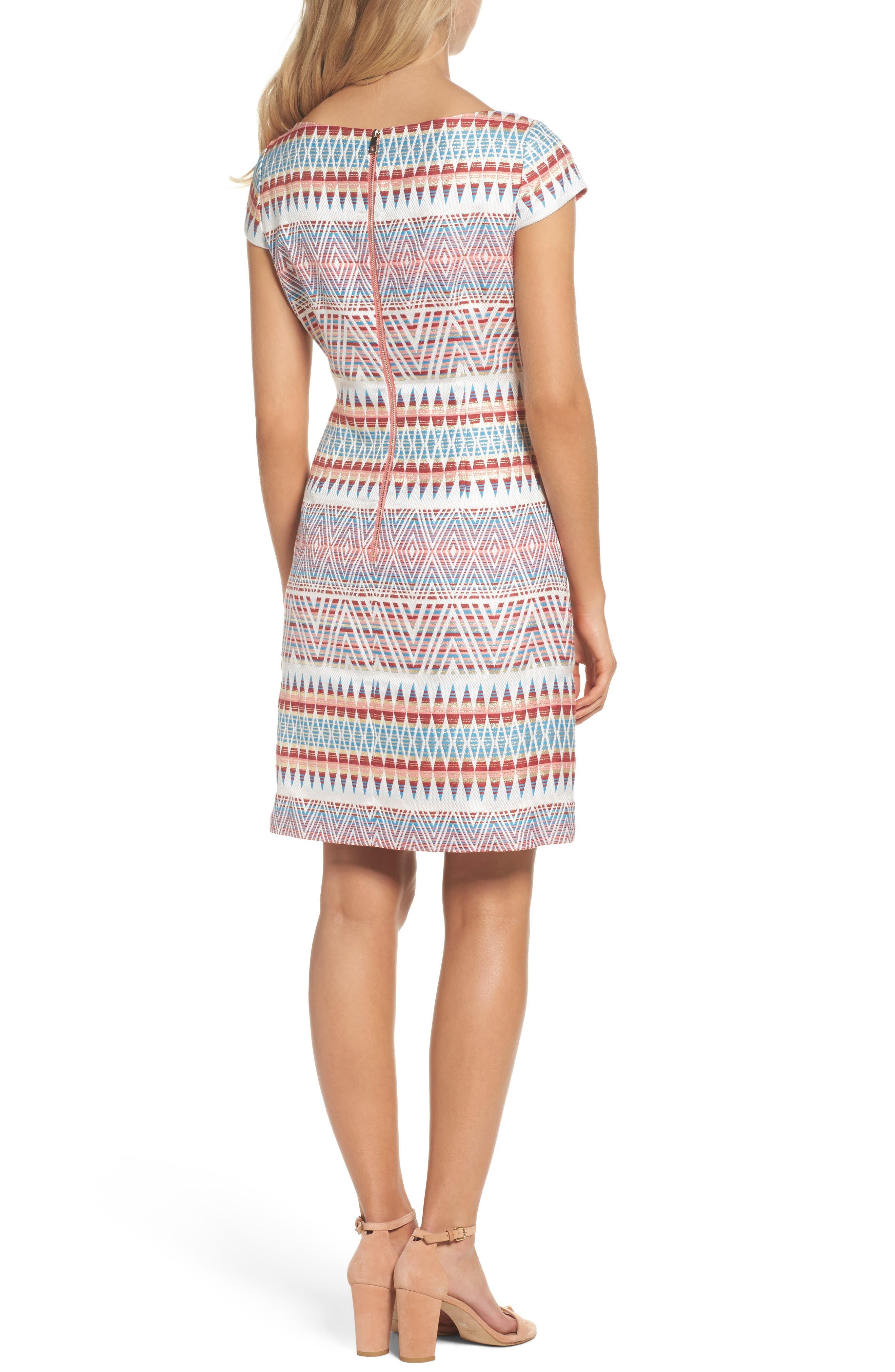 Jacquard Sheath Dress,                             Alternate thumbnail 2, color,                             Coral Multi