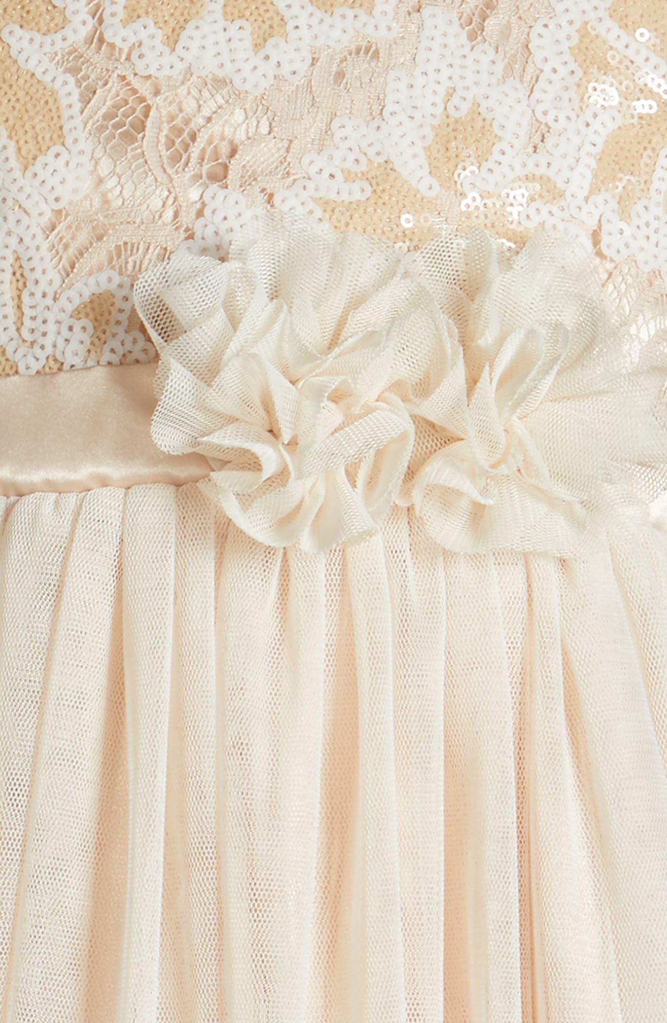Sequin Flower Dress,                             Alternate thumbnail 3, color,                             Ivory