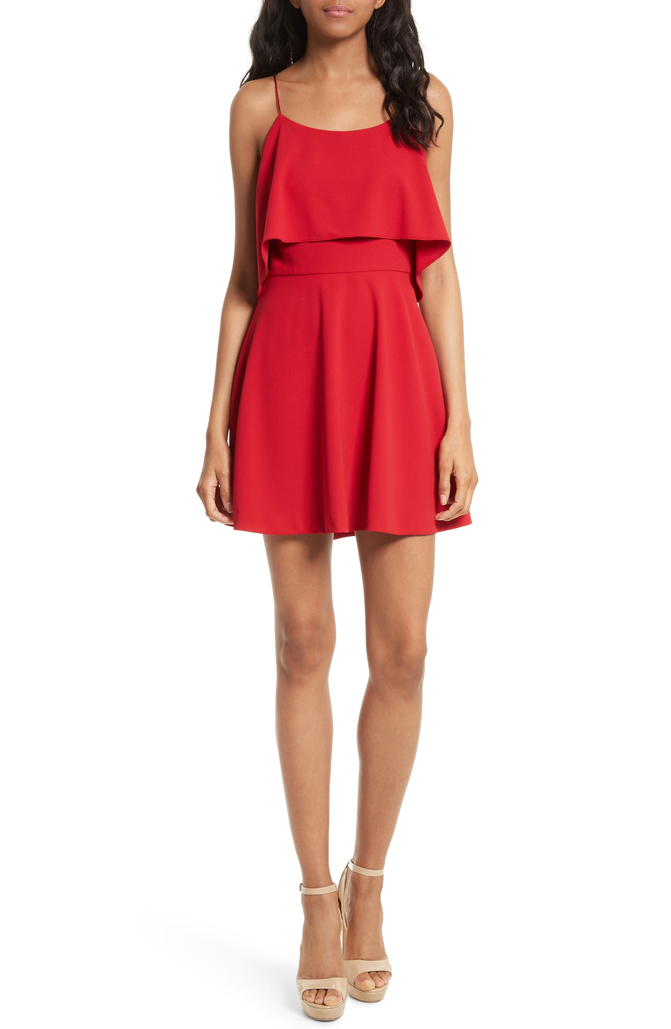 Kipp Layered Ruffle Short Dress,                             Main thumbnail 1, color,                             Deep Ruby