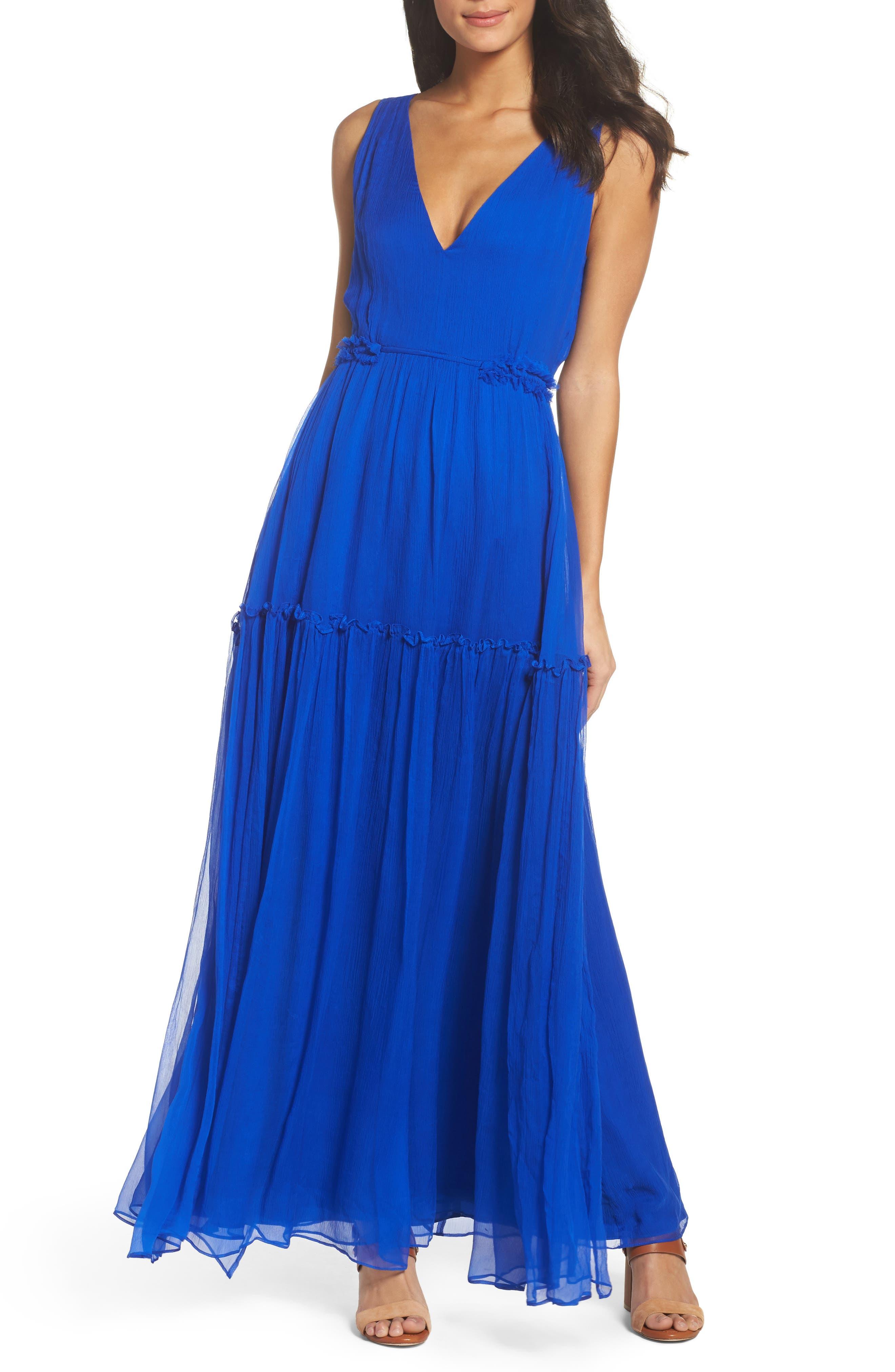 BB Dakota Yasmeen Tiered Georgette Maxi Dress,                         Main,                         color, Bright Ultramarine