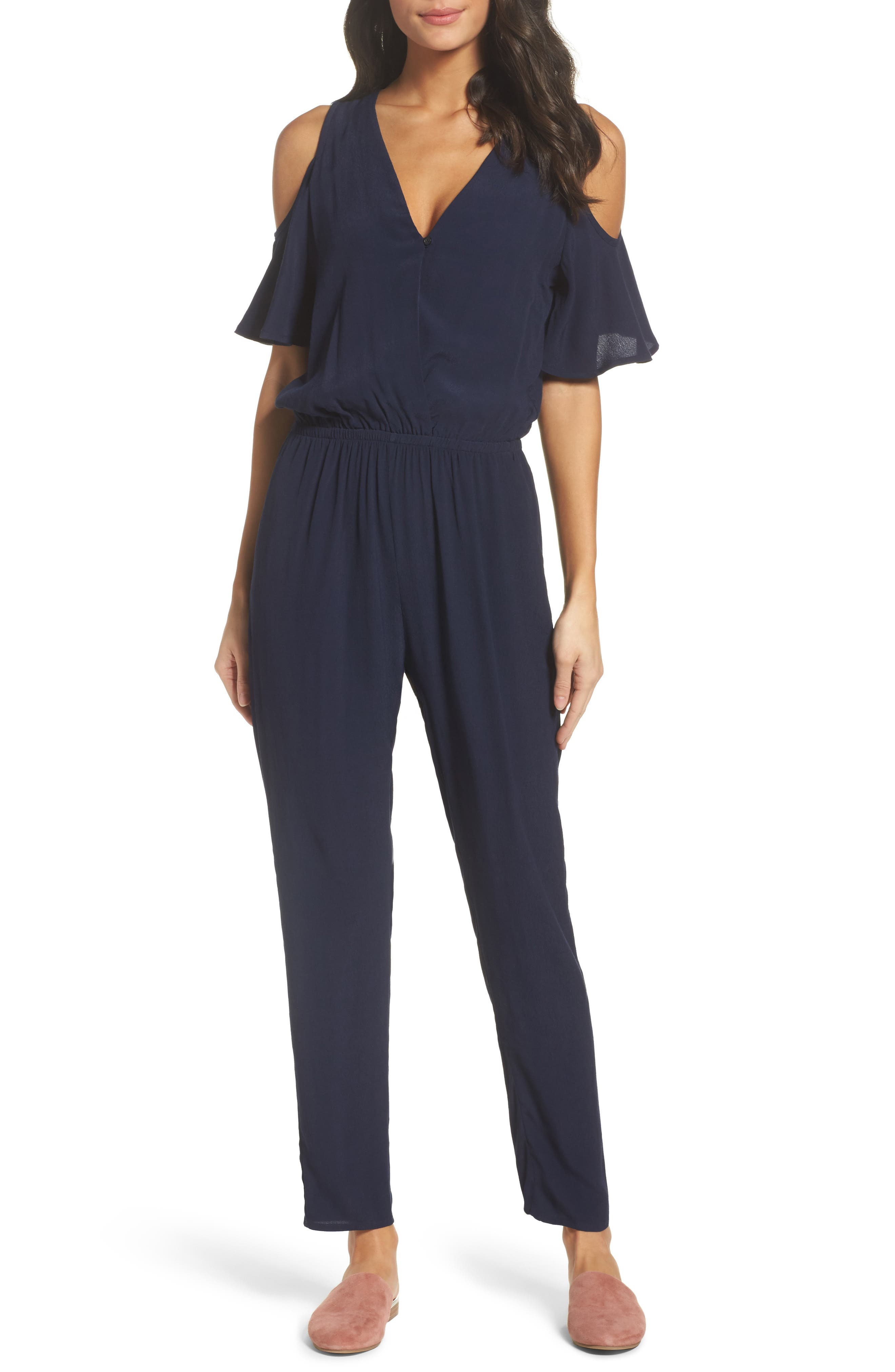 Main Image - Fraiche by J Cold Shoulder Jumpsuit