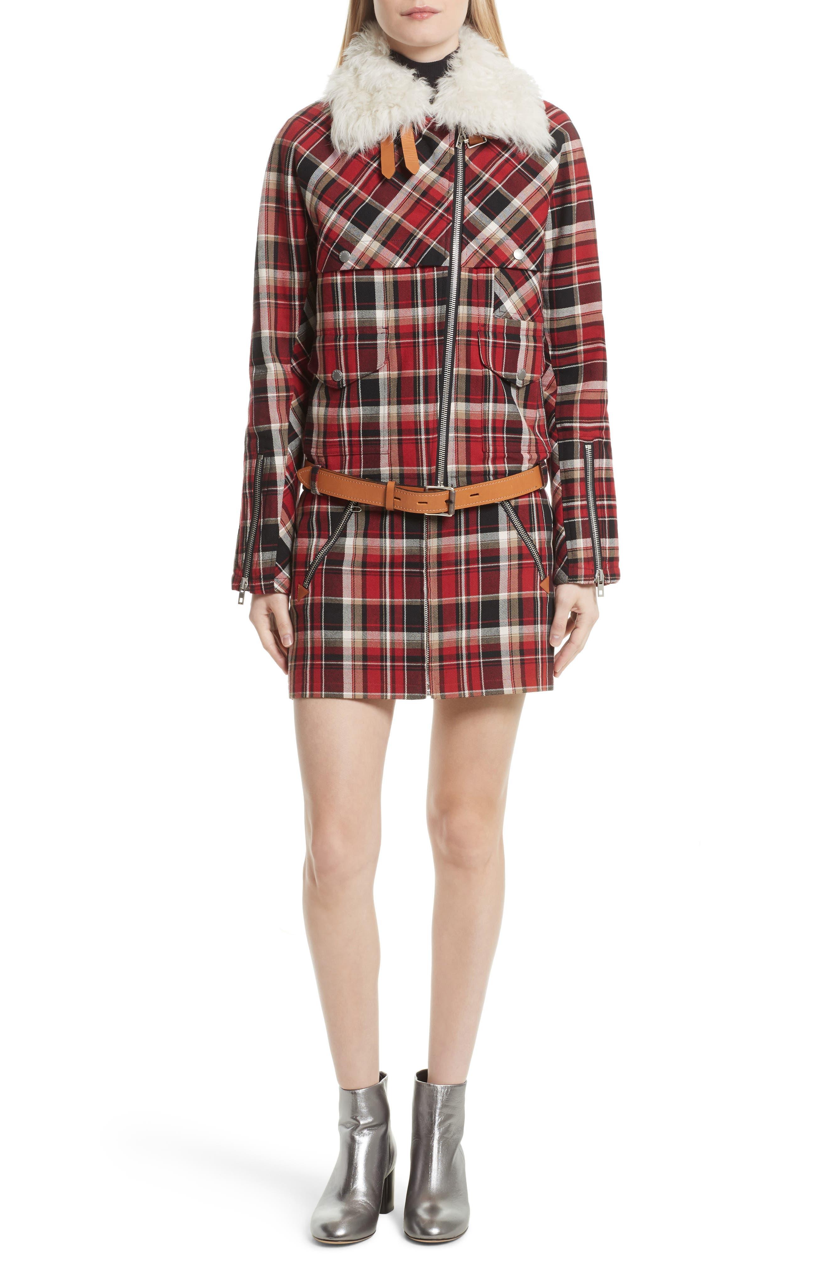 Alternate Image 6  - rag & bone Etiene Plaid Jacket with Genuine Lamb Fur Collar