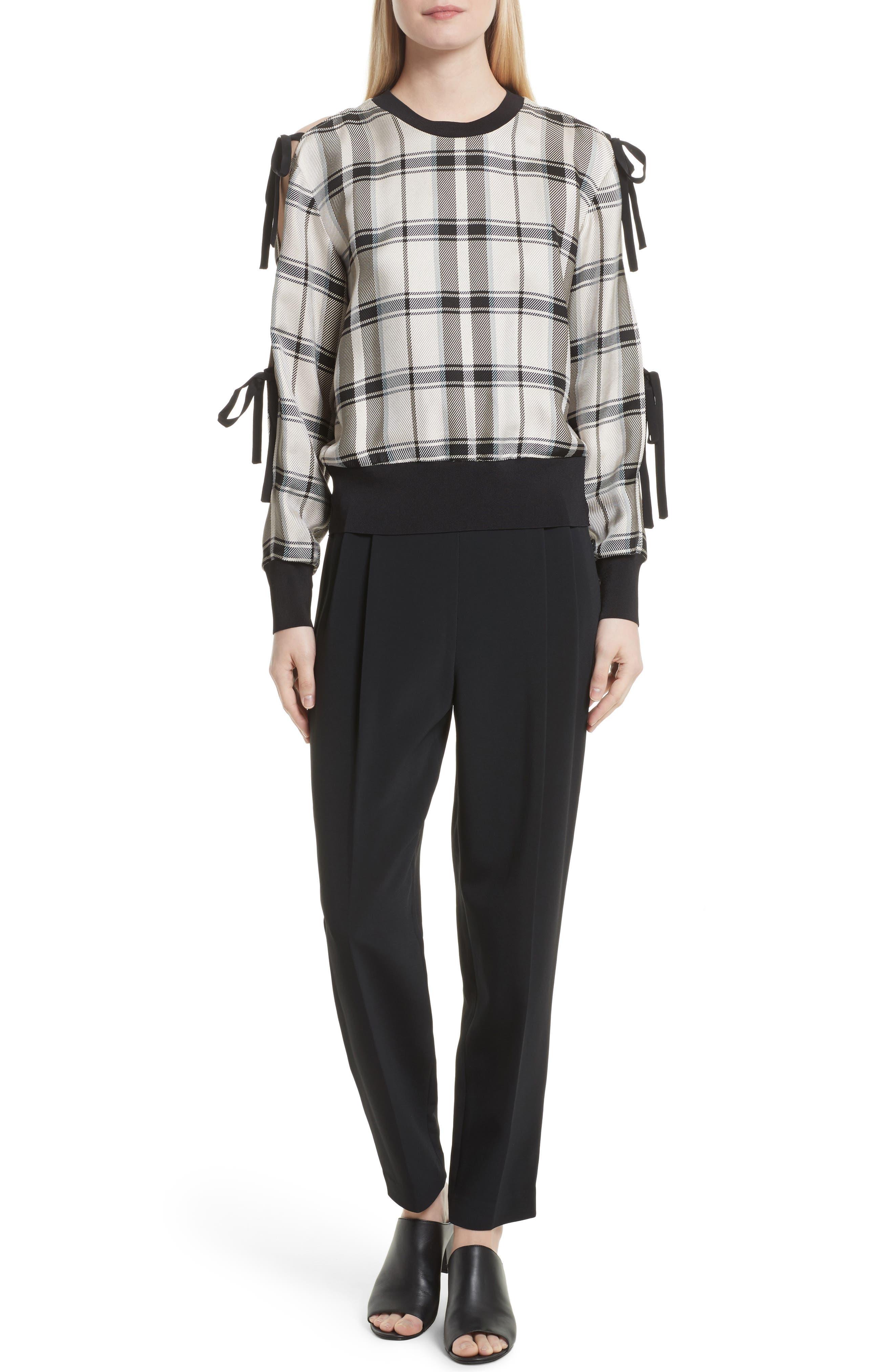 Tie Sleeve Check Pullover,                             Alternate thumbnail 2, color,                             Cream/ Black