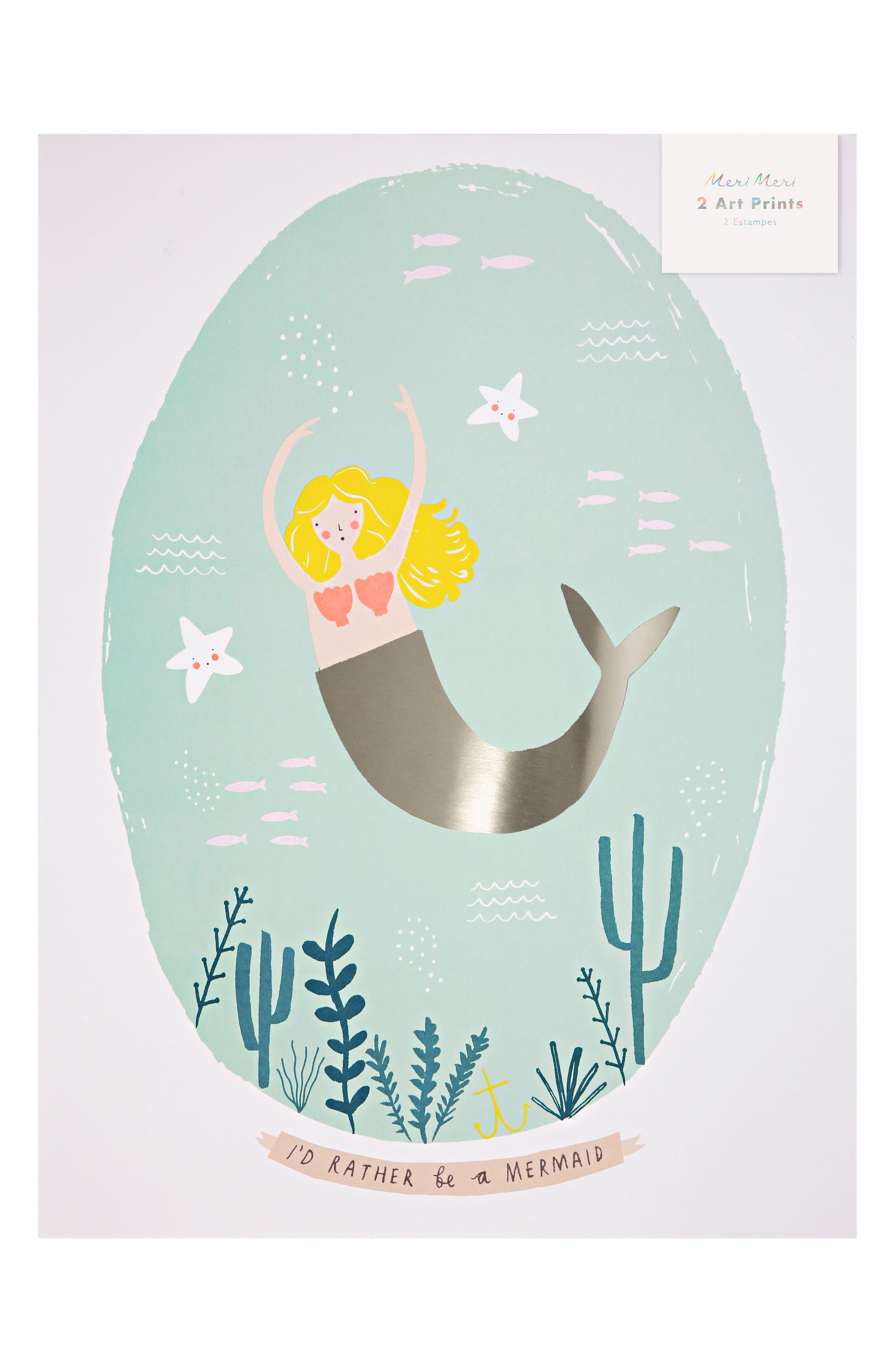 Mermaid 2-Pack Art Prints,                             Main thumbnail 1, color,                             Pink