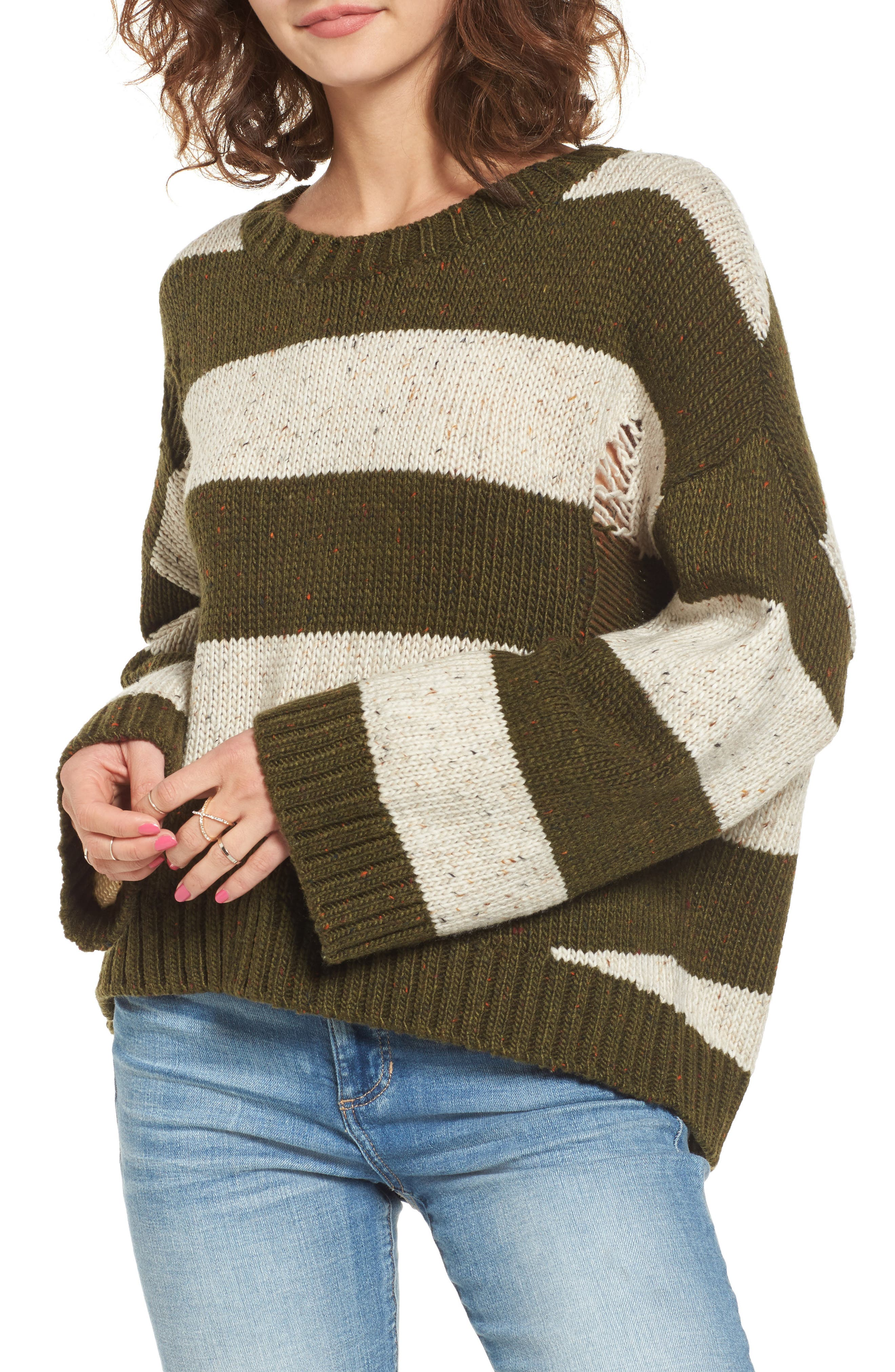 Main Image - BP. Distressed Stripe Pullover