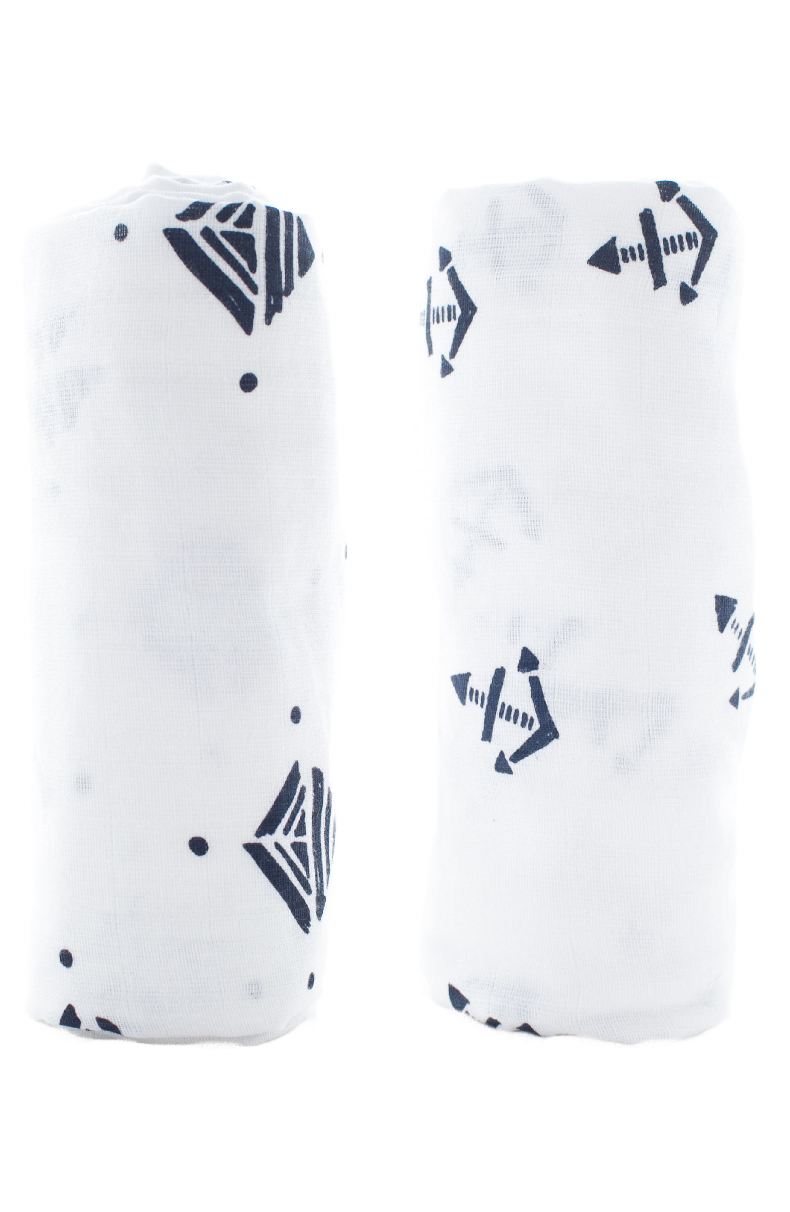 Urban Geometry 2-Pack Organic Cotton Swaddle Blankets,                         Main,                         color, Navy