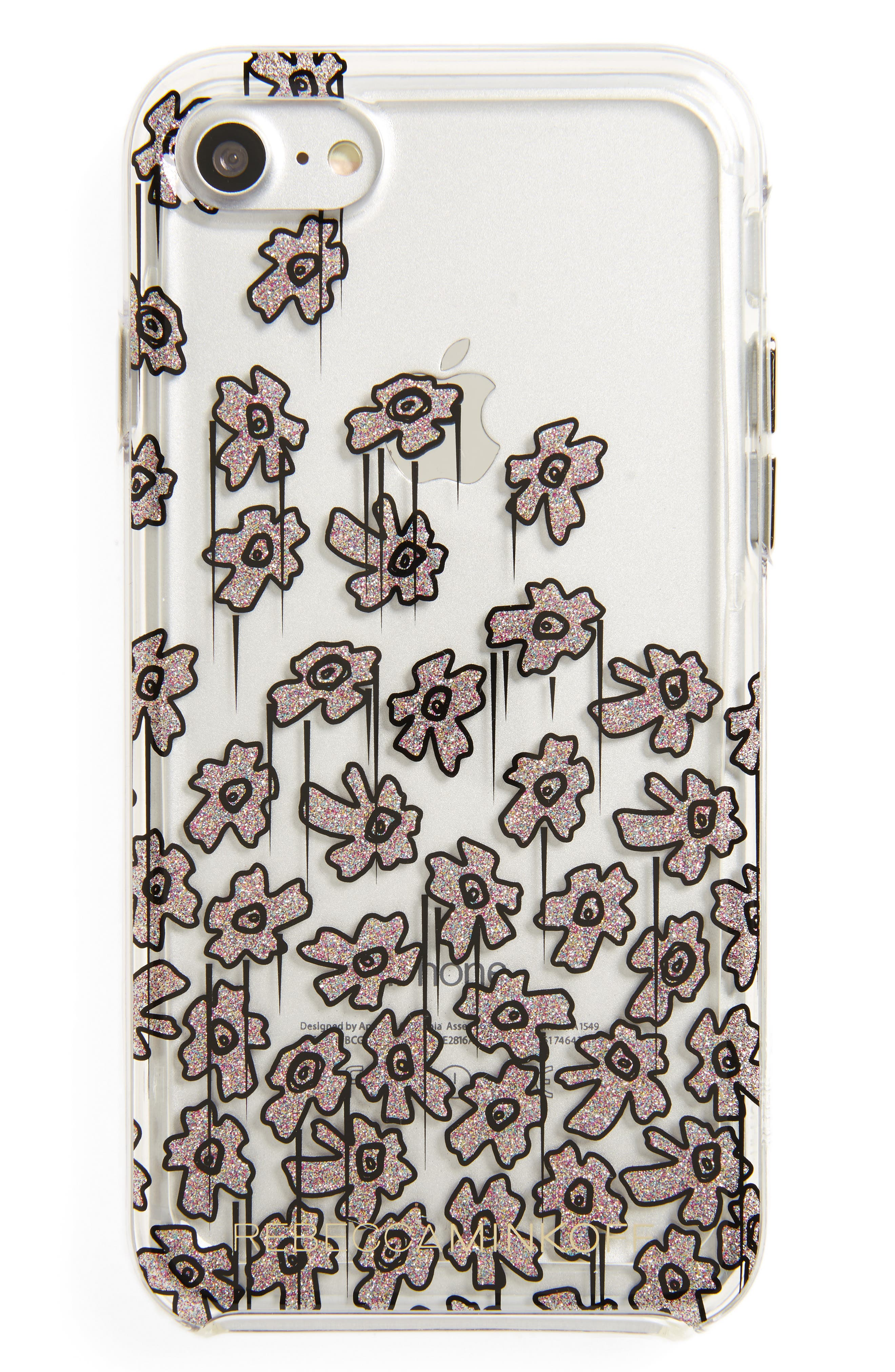 REBECCA MINKOFF Glitter Flower iPhone 7 Case