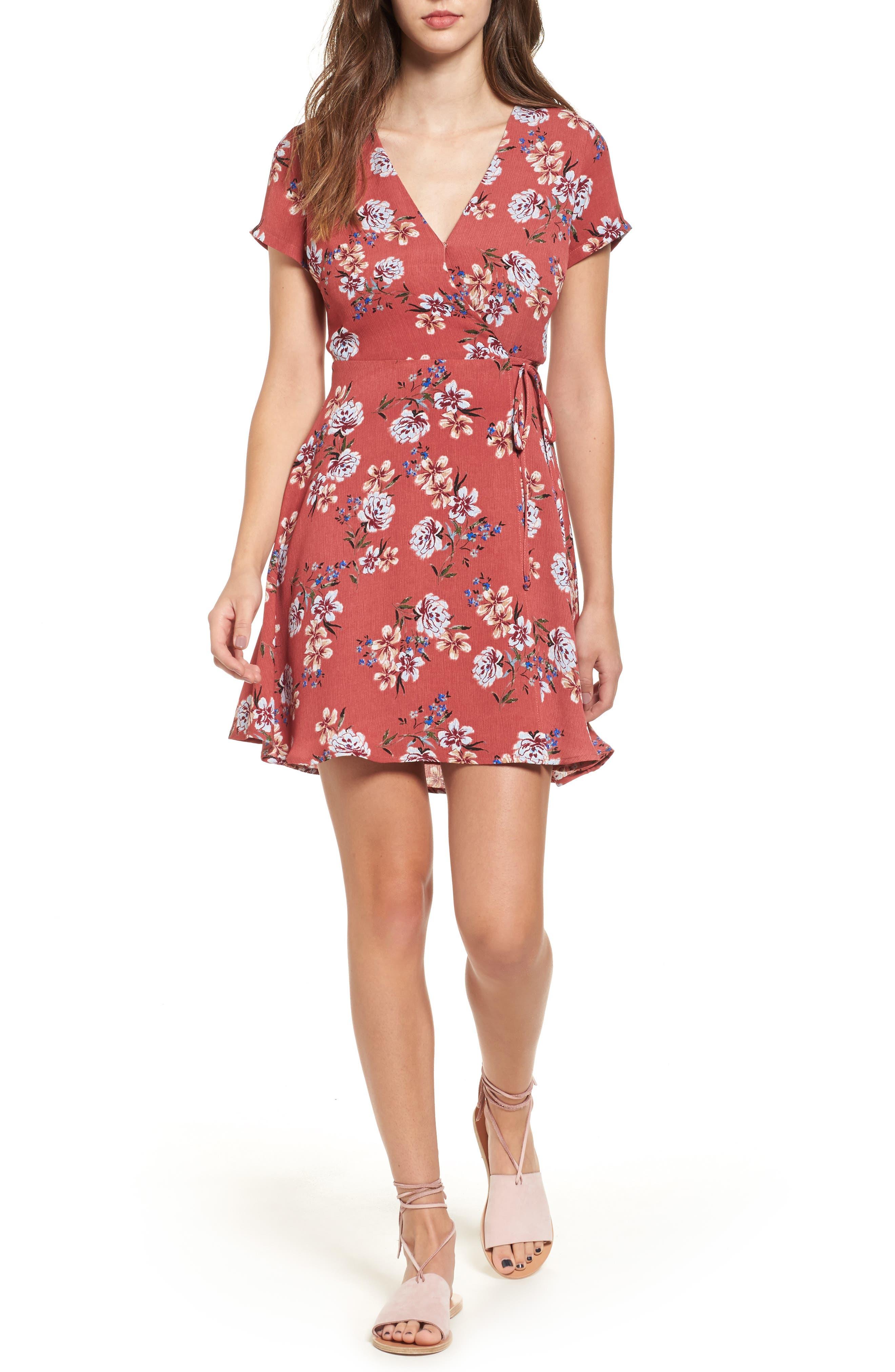 Olivia Wrap Dress,                         Main,                         color, Dusty Rose Blue
