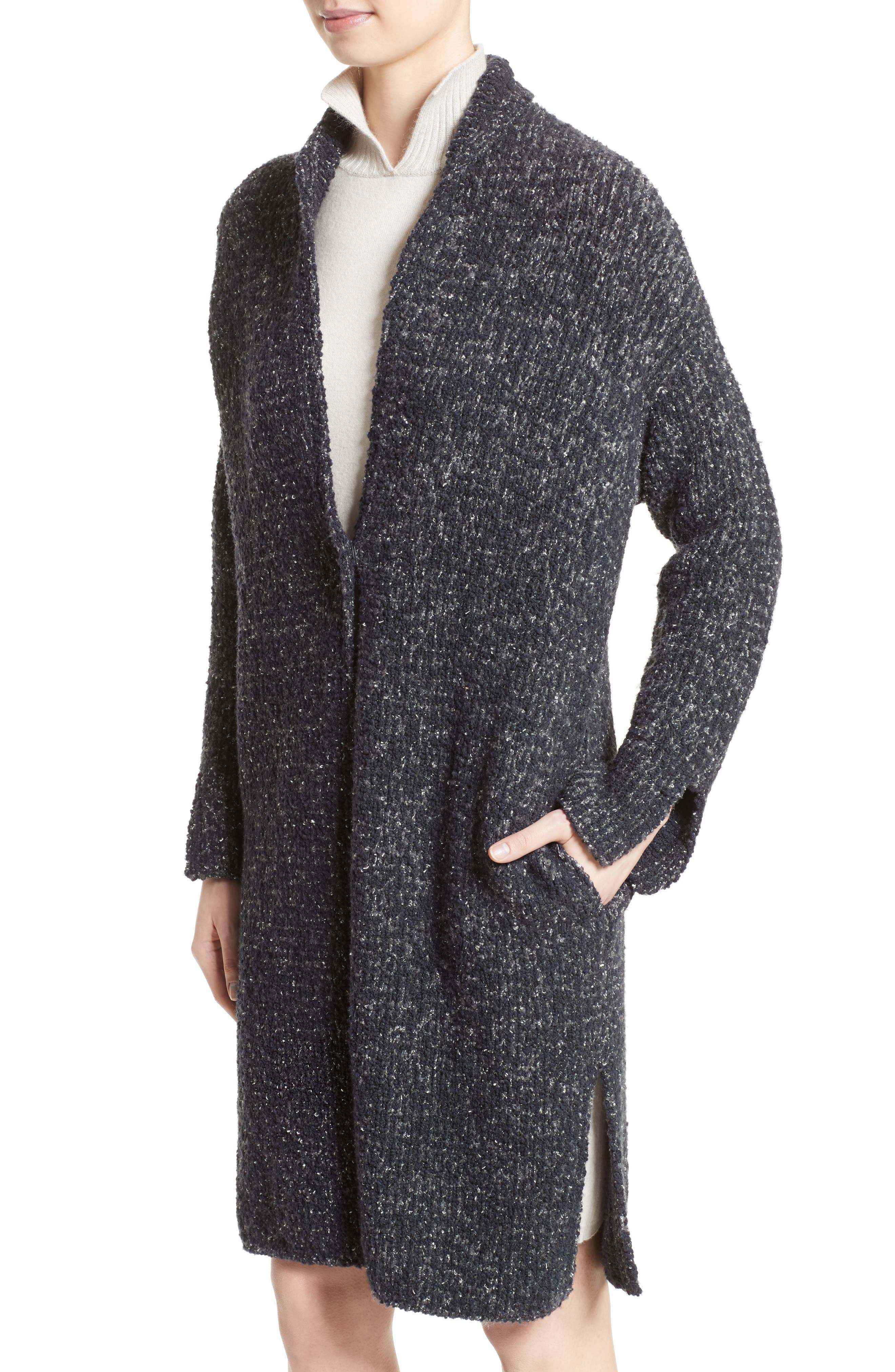 Wool Blend Bouclé Long Cardigan,                             Alternate thumbnail 7, color,                             Grey Multi