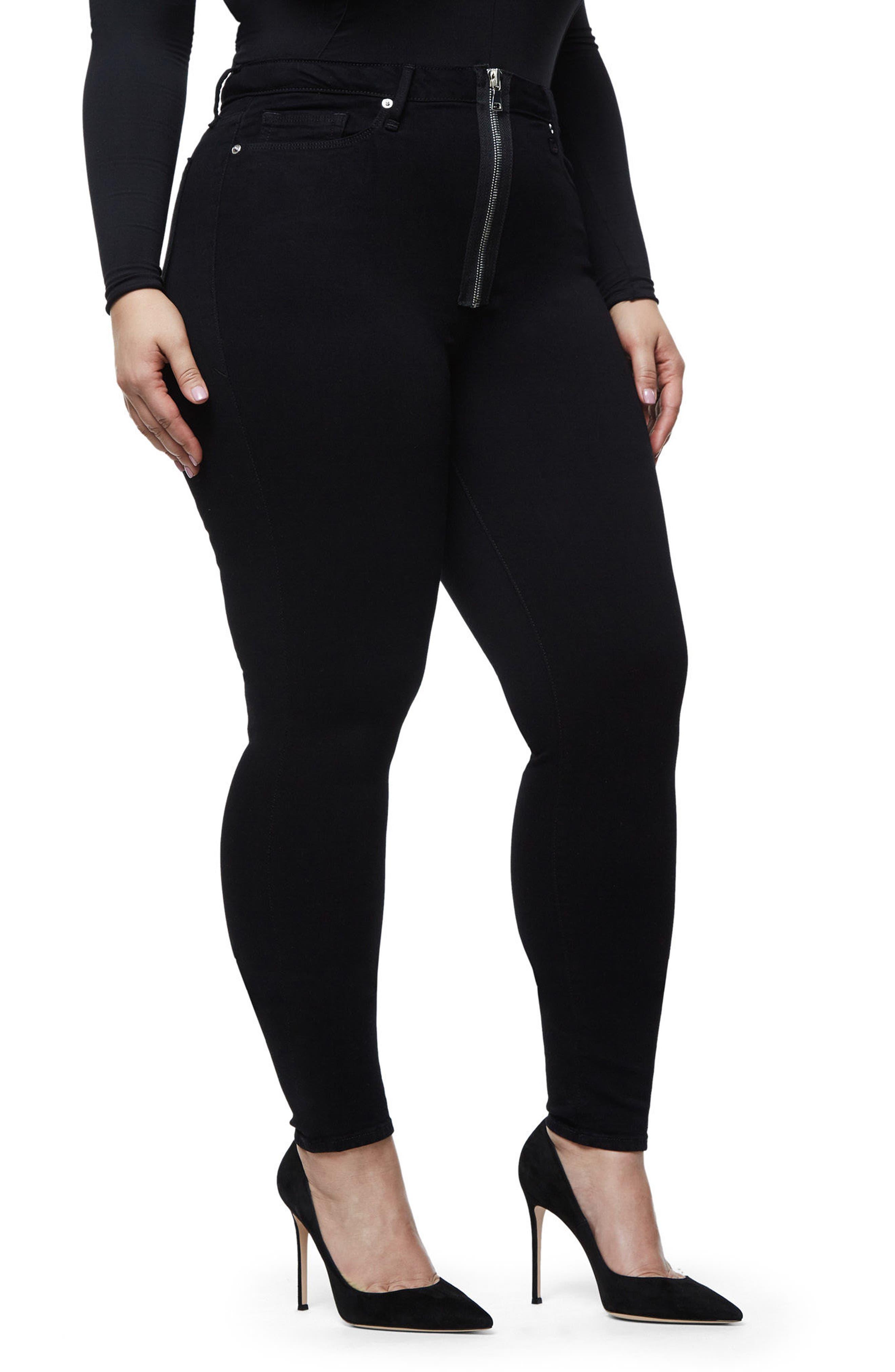 Good Waist Exposed Zip Skinny Jeans,                             Alternate thumbnail 9, color,                             Black001