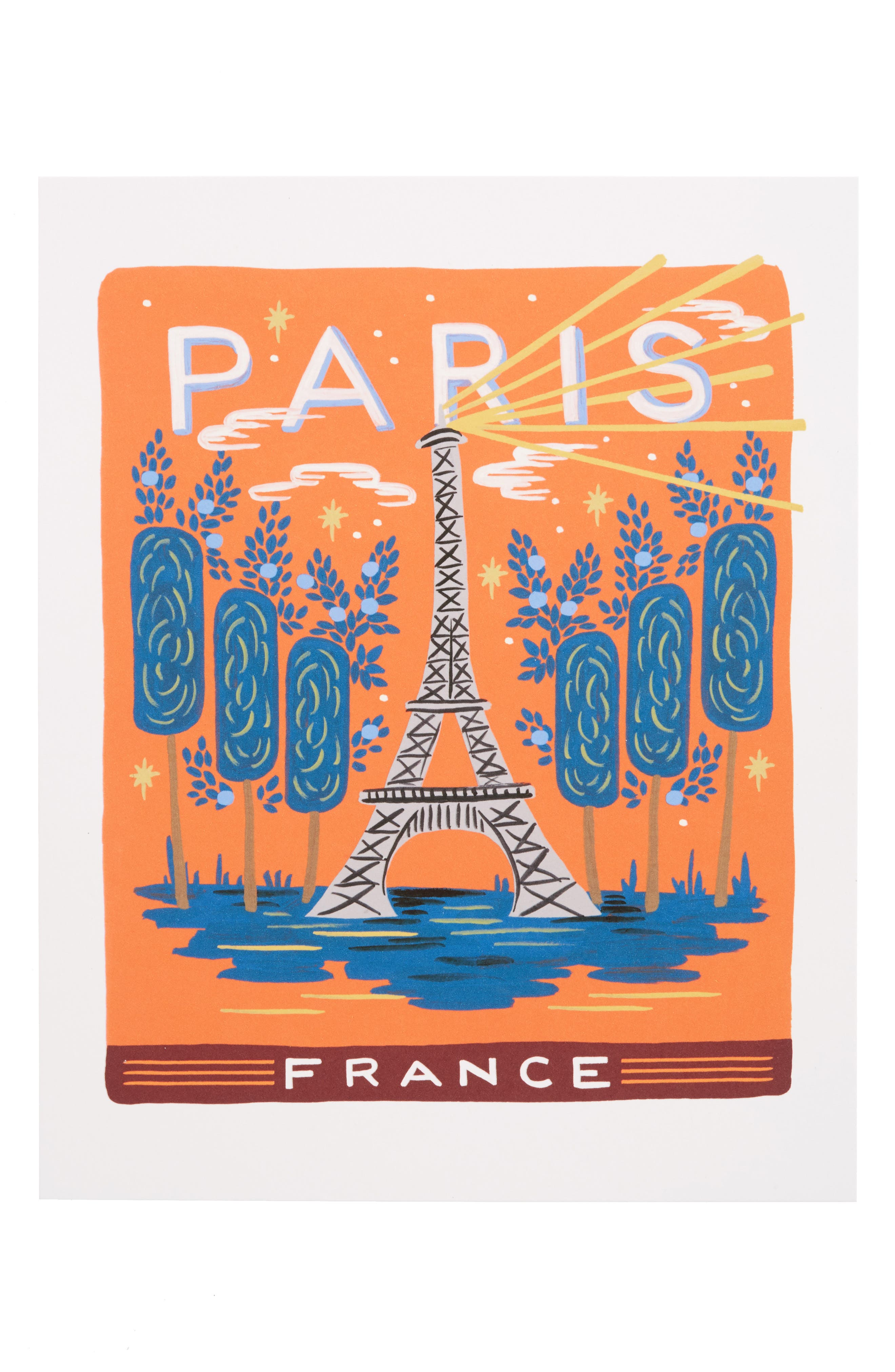Bon Voyage Paris Art Print,                         Main,                         color, White