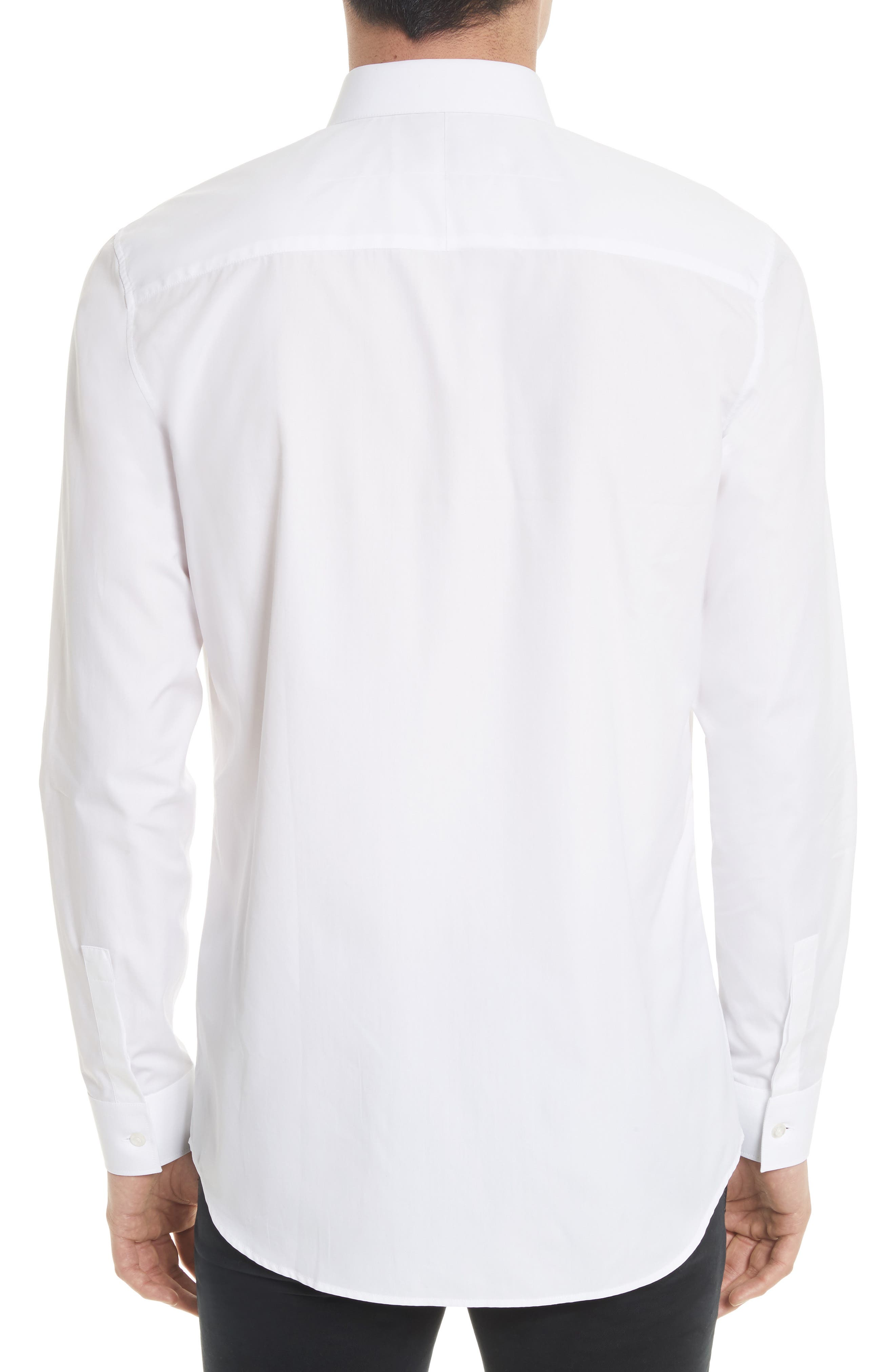 Slim Fit Band Placket Sport Shirt,                             Alternate thumbnail 3, color,                             White