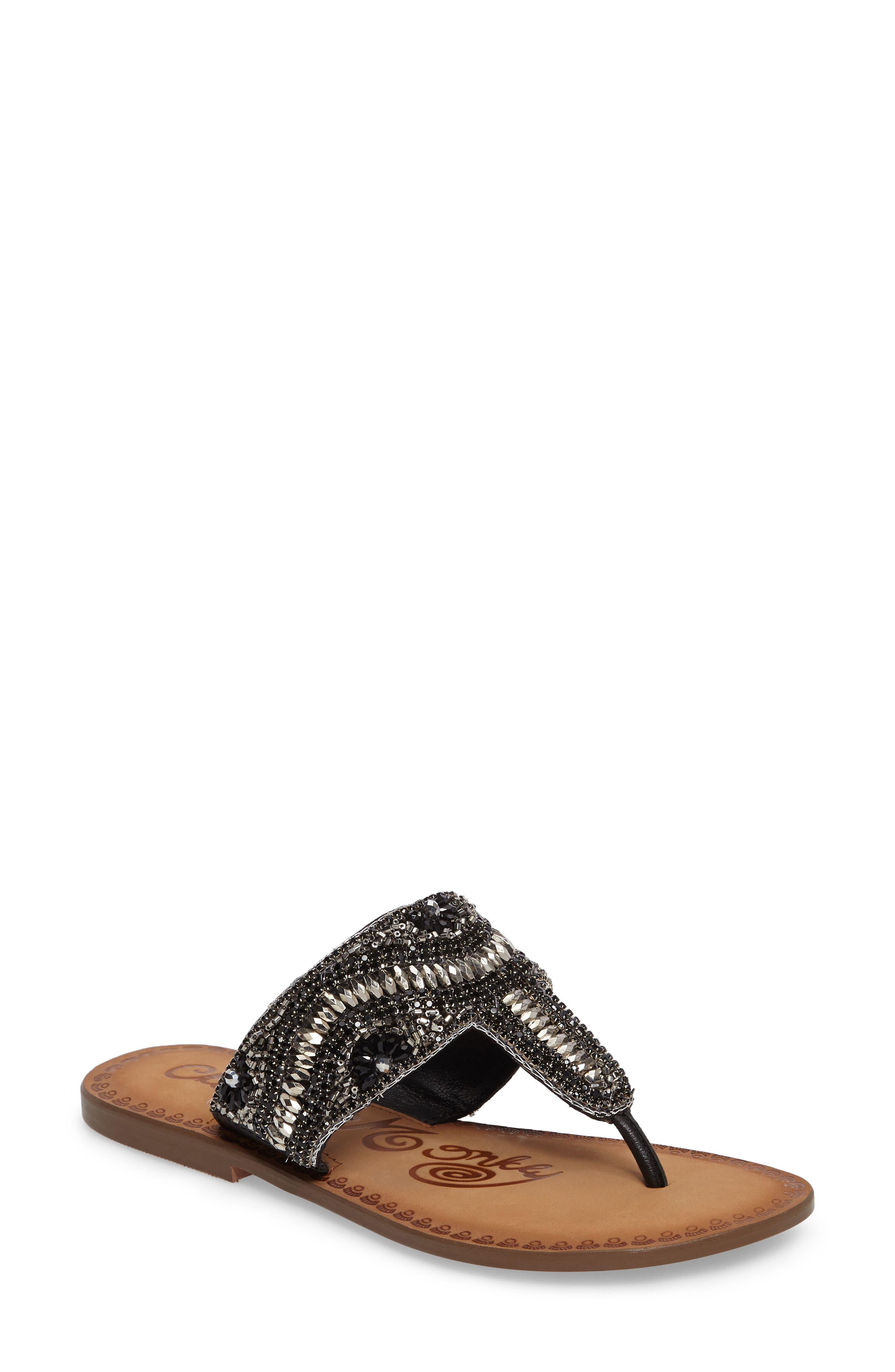 Lizabeth Embellished Sandal,                             Main thumbnail 1, color,                             Black Leather