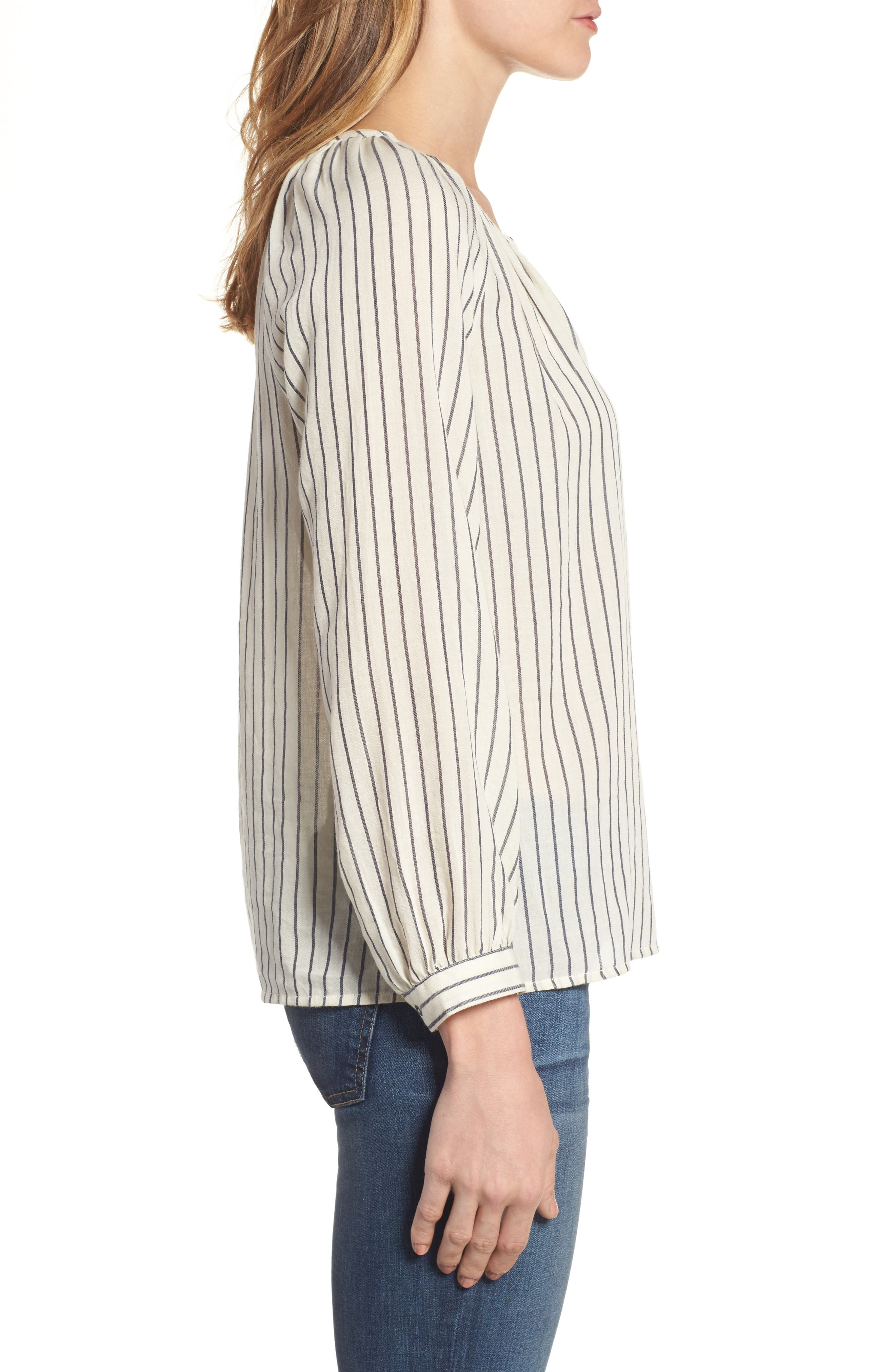 Stripe Peasant Blouse,                             Alternate thumbnail 3, color,                             Black Multi